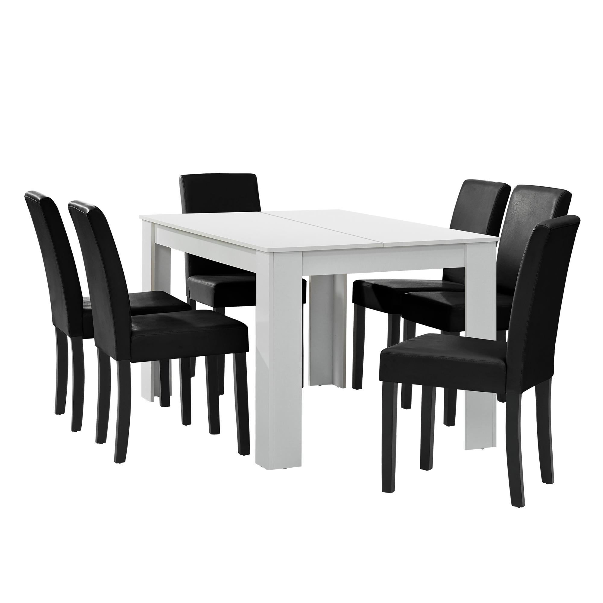 A Manger Blanc Avec 6 Chaises Noir 140x90 Table Chaises Salle A