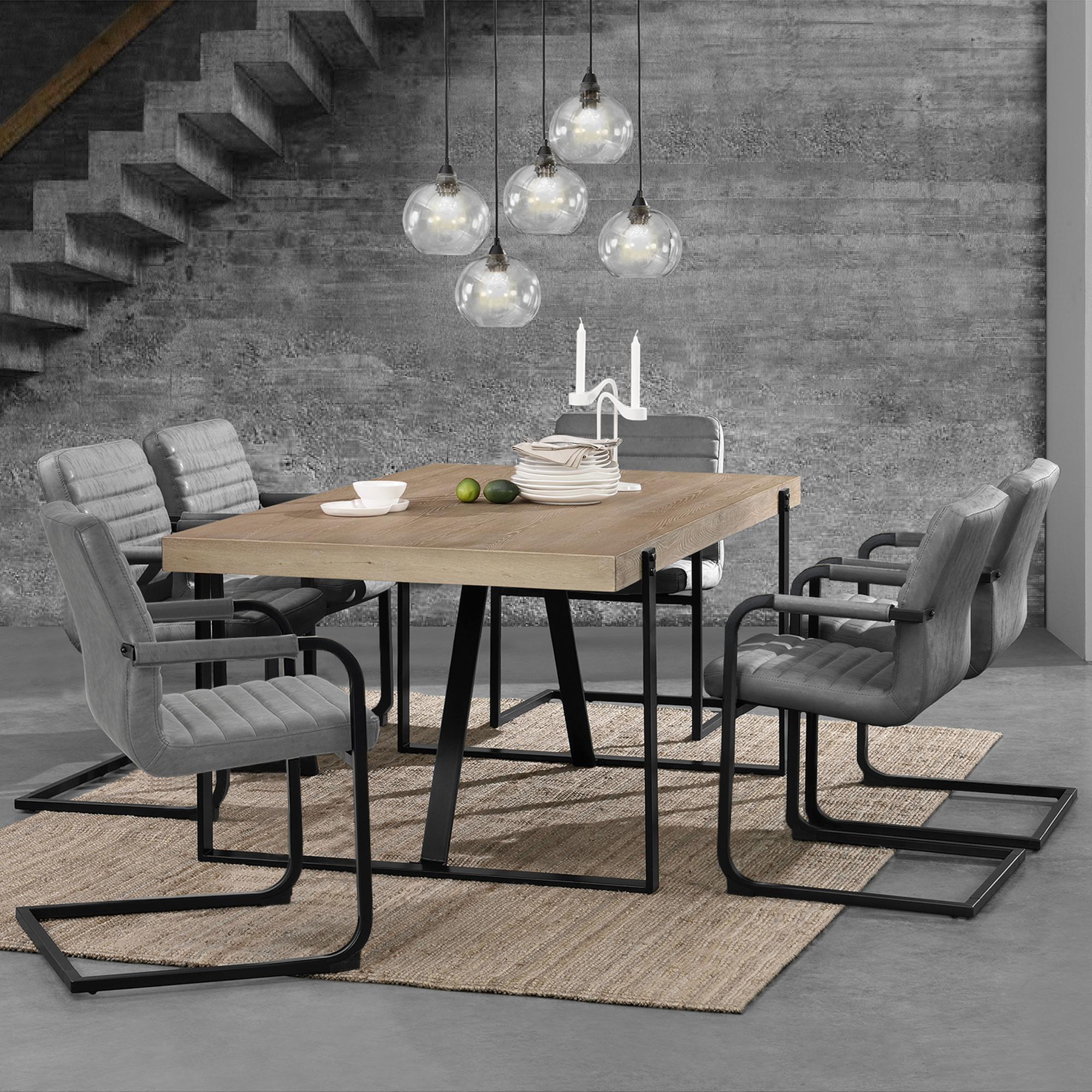en.casa]® Esstisch Eiche mit 6 Stühlen Whitewash 180x100 Tisch ...