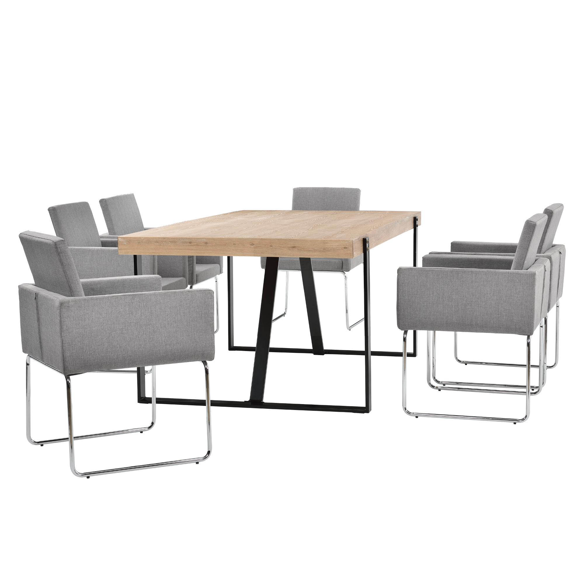 """[en.casa]® Elegantní jídelní stůl """"Aaron"""" + designová židle """"Athen"""" 6 ks set - světle šedá"""
