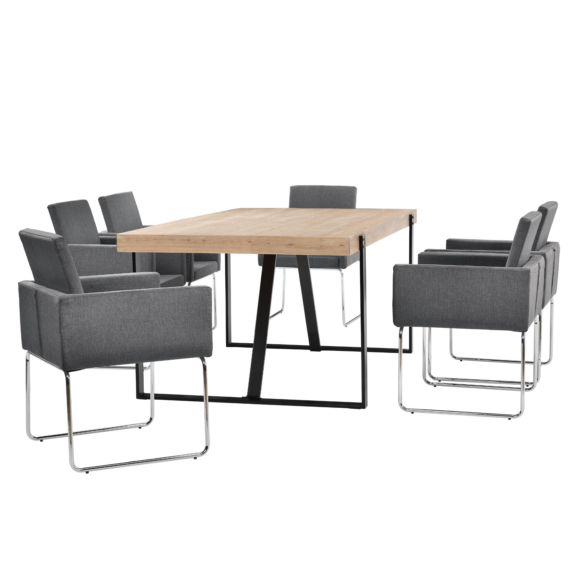 """[en.casa]® Elegantní jídelní stůl """"Aaron"""" + designová židle """"Athen"""" 6 ks set - tmavě šedá"""