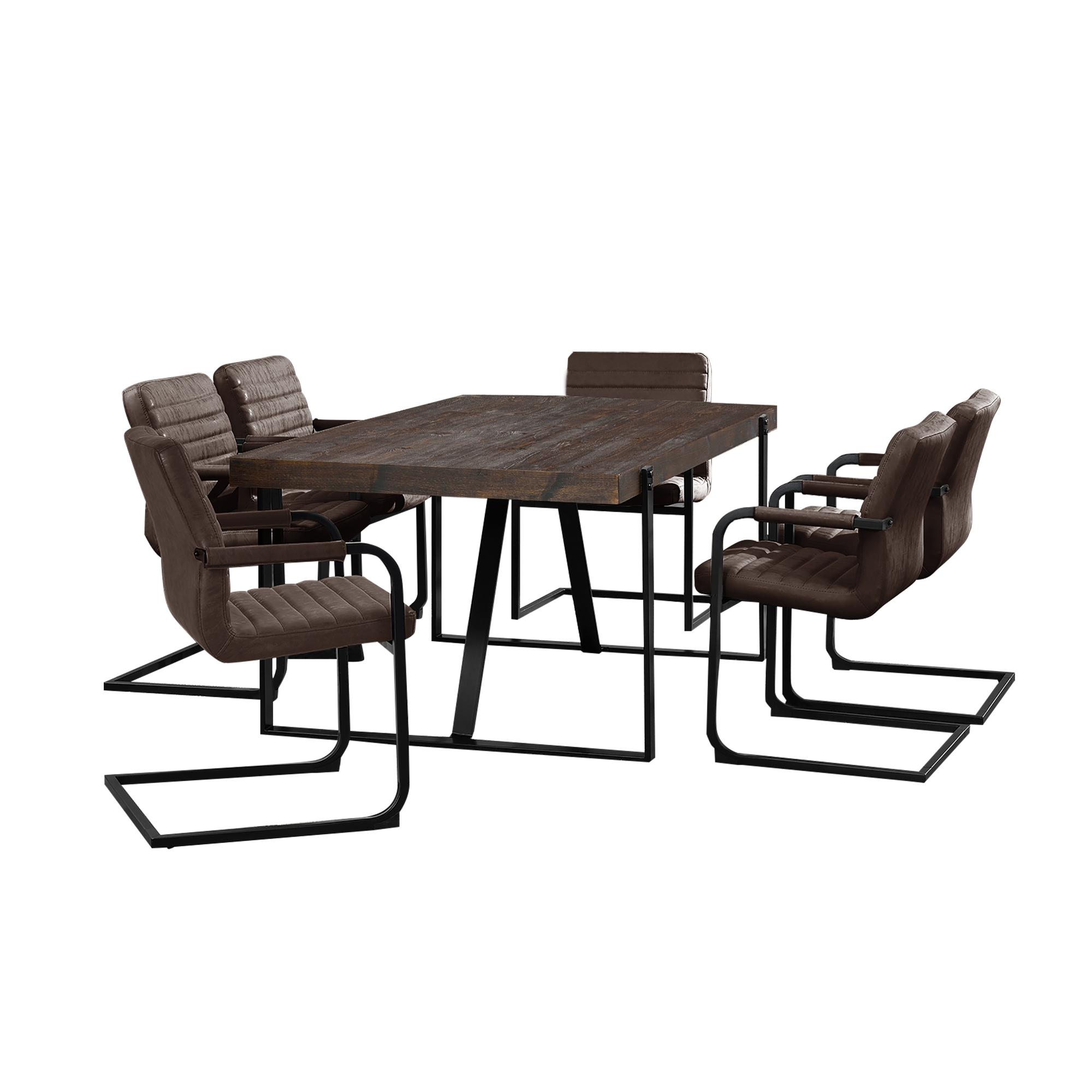Tavolo da pranzo rovere scuro con 6 sedie for Tavolo marrone scuro