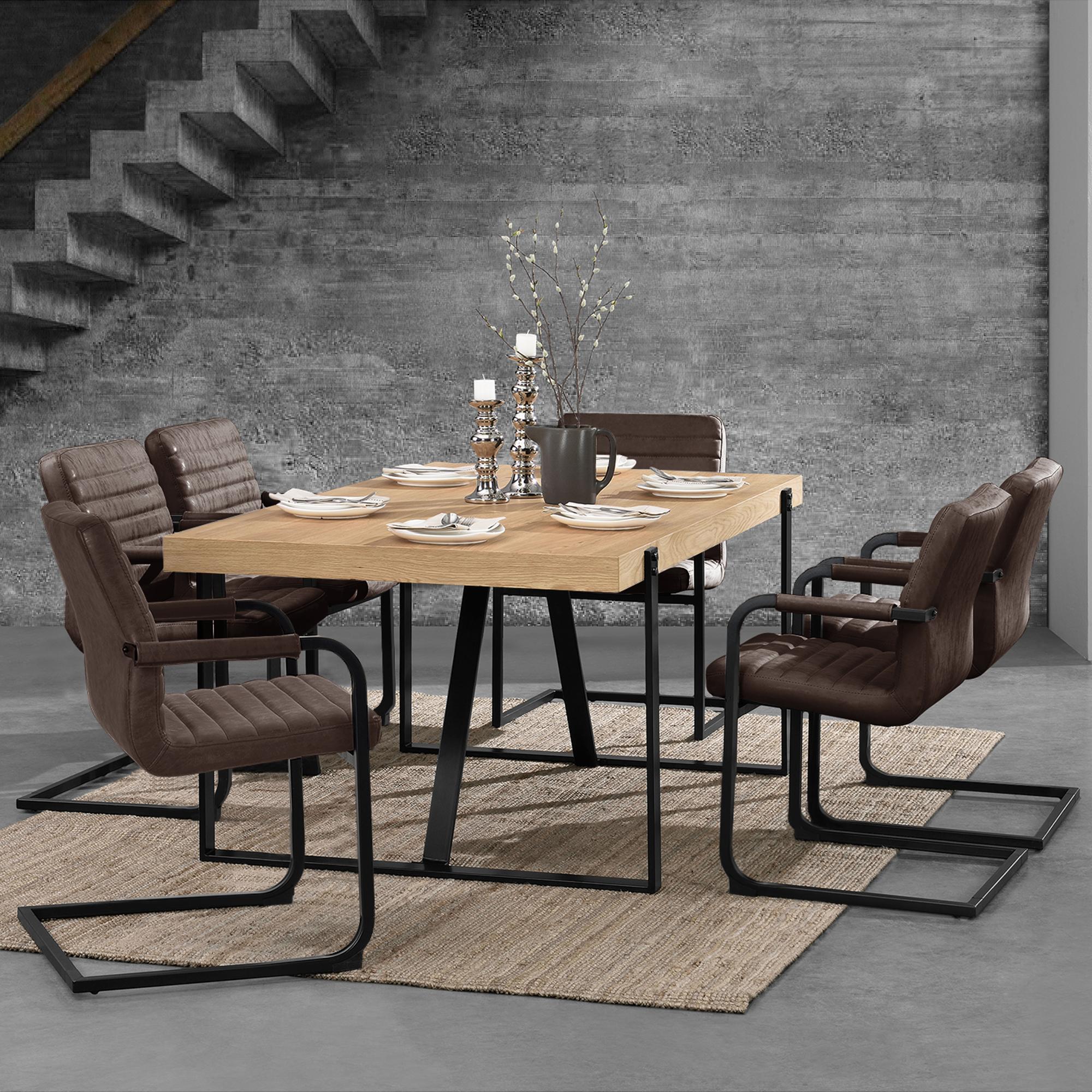 table ch ne avec 6 chaises 180x100 table chaises marron fonc ebay. Black Bedroom Furniture Sets. Home Design Ideas