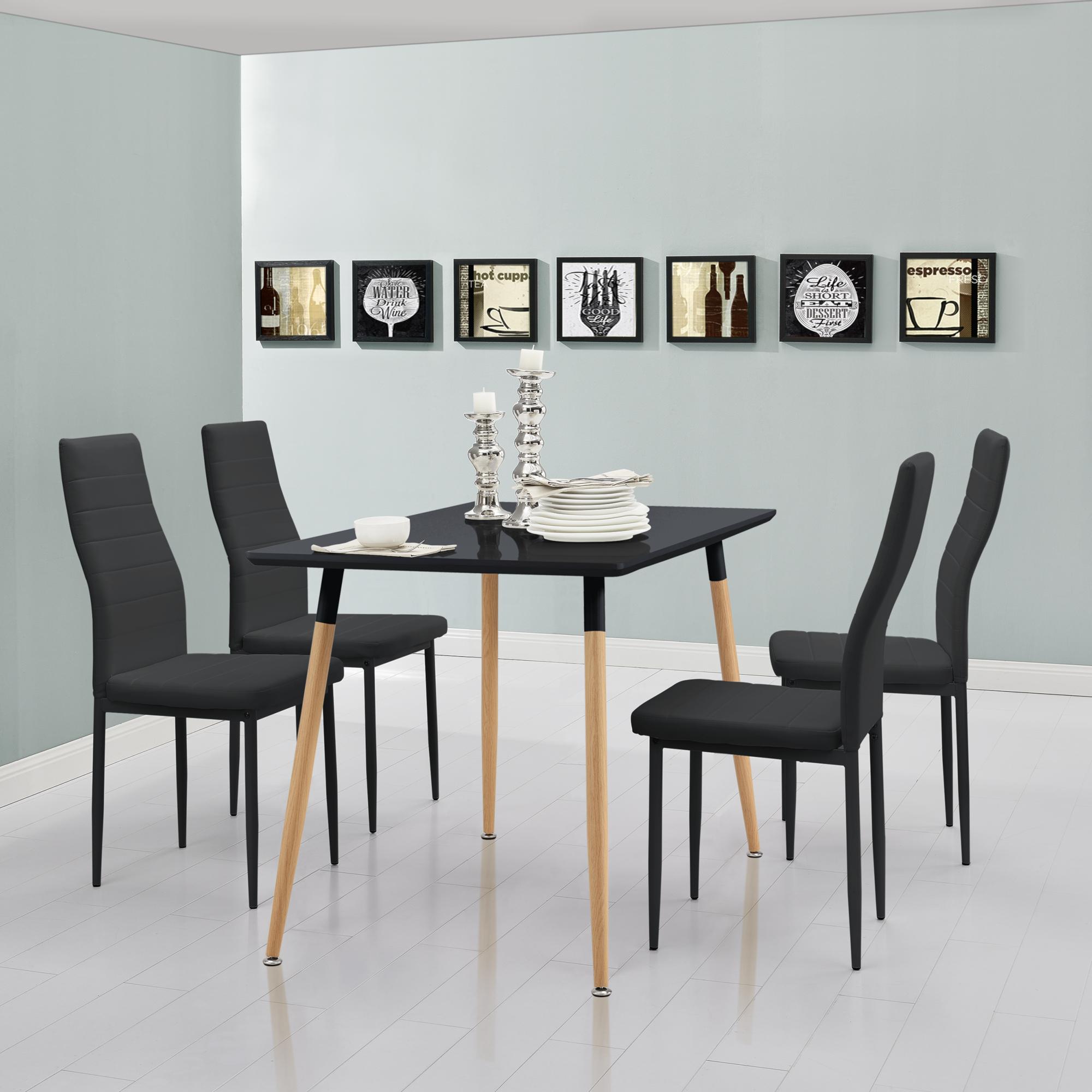 Dettagli su [en.casa]® Tavolo da pranzo con 4 sedie nere/grigio 120x70  tavolo cucina sala