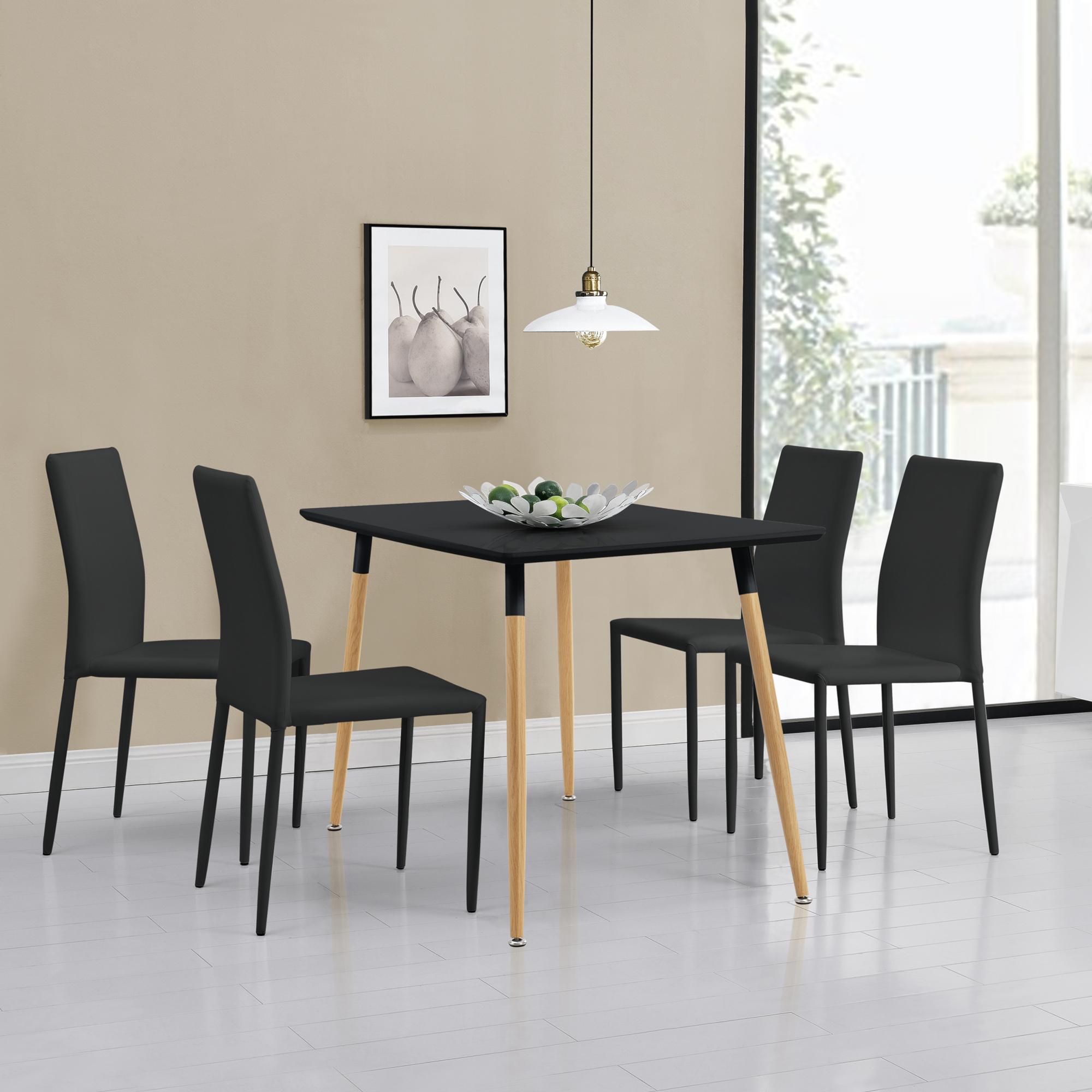 Dettagli su Tavolo da Pranzo con 4 Sedie Nero 120x70cm Tavolo da Cucina  Pranzo