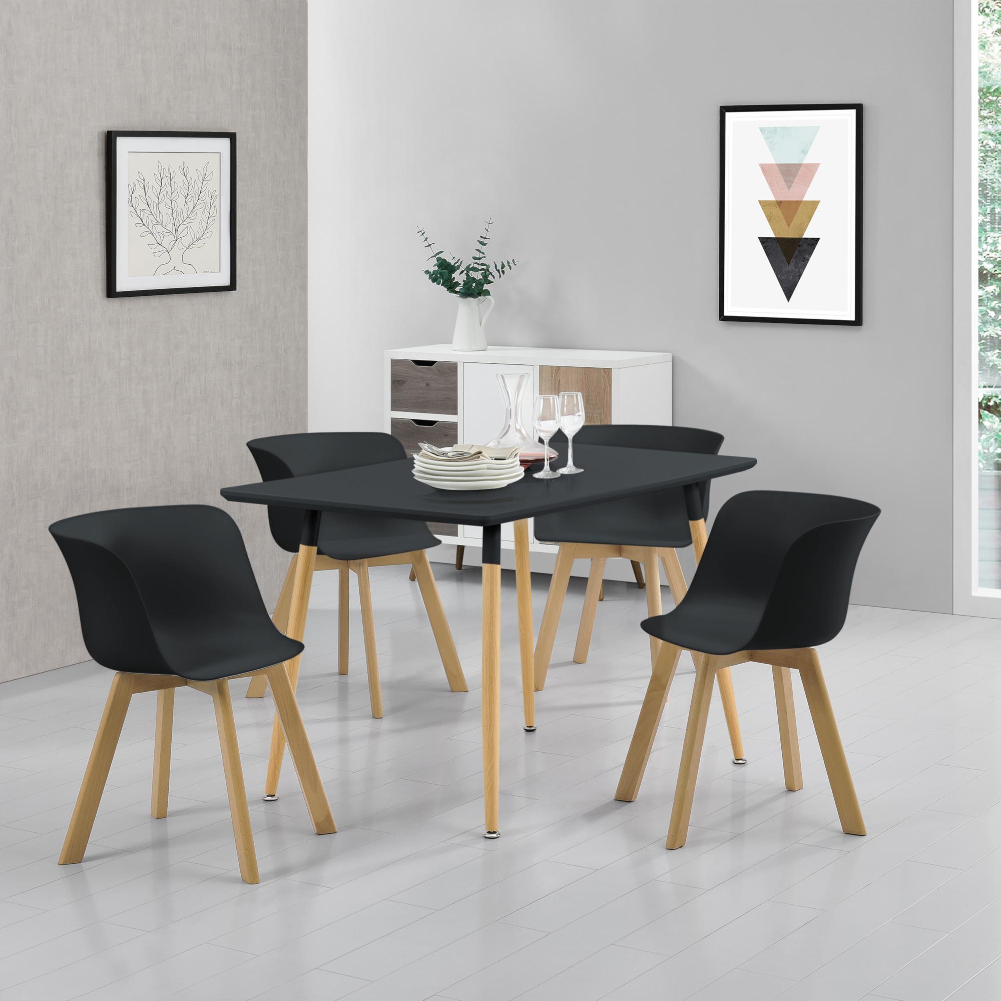 ® Table à manger avec 4 chaises Blanc 140x60cm TABLE de CUISINE salle à manger table en. casa