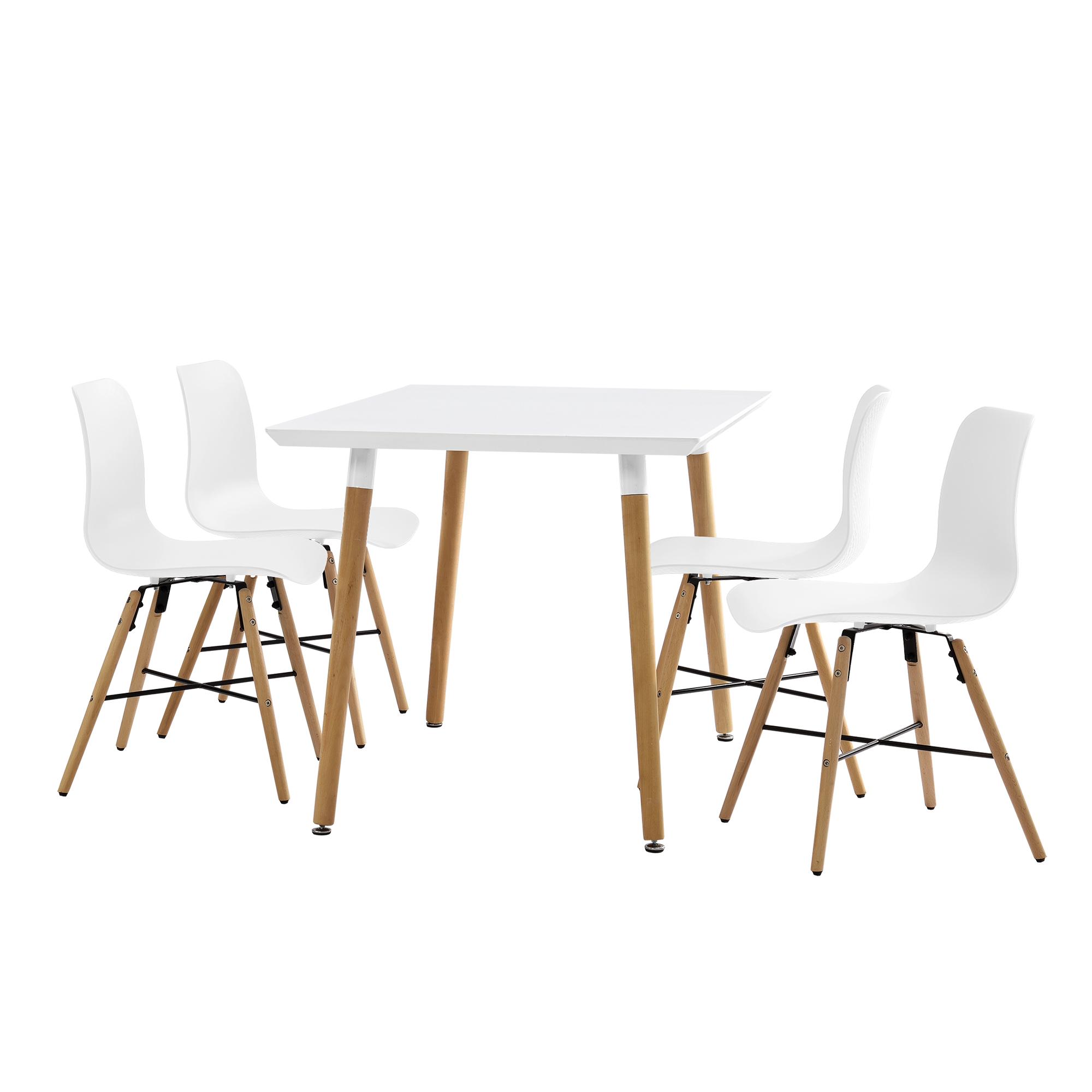 Manger avec 4 chaises blanc 120x70cm table de for Table salle a manger jean nouvel