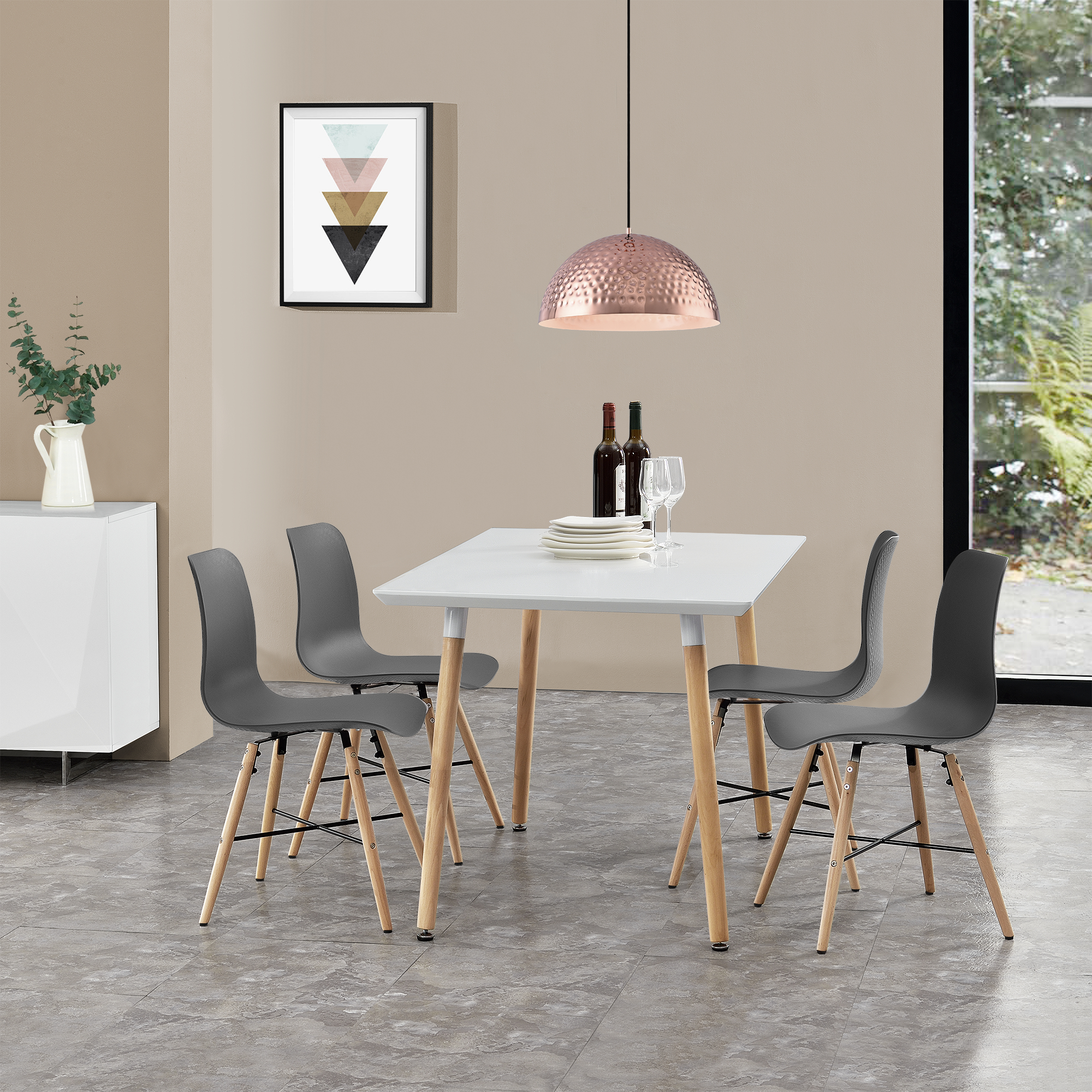 esstisch mit 4 st hlen wei grau 120x70cm st hle mit muster esstisch ebay. Black Bedroom Furniture Sets. Home Design Ideas