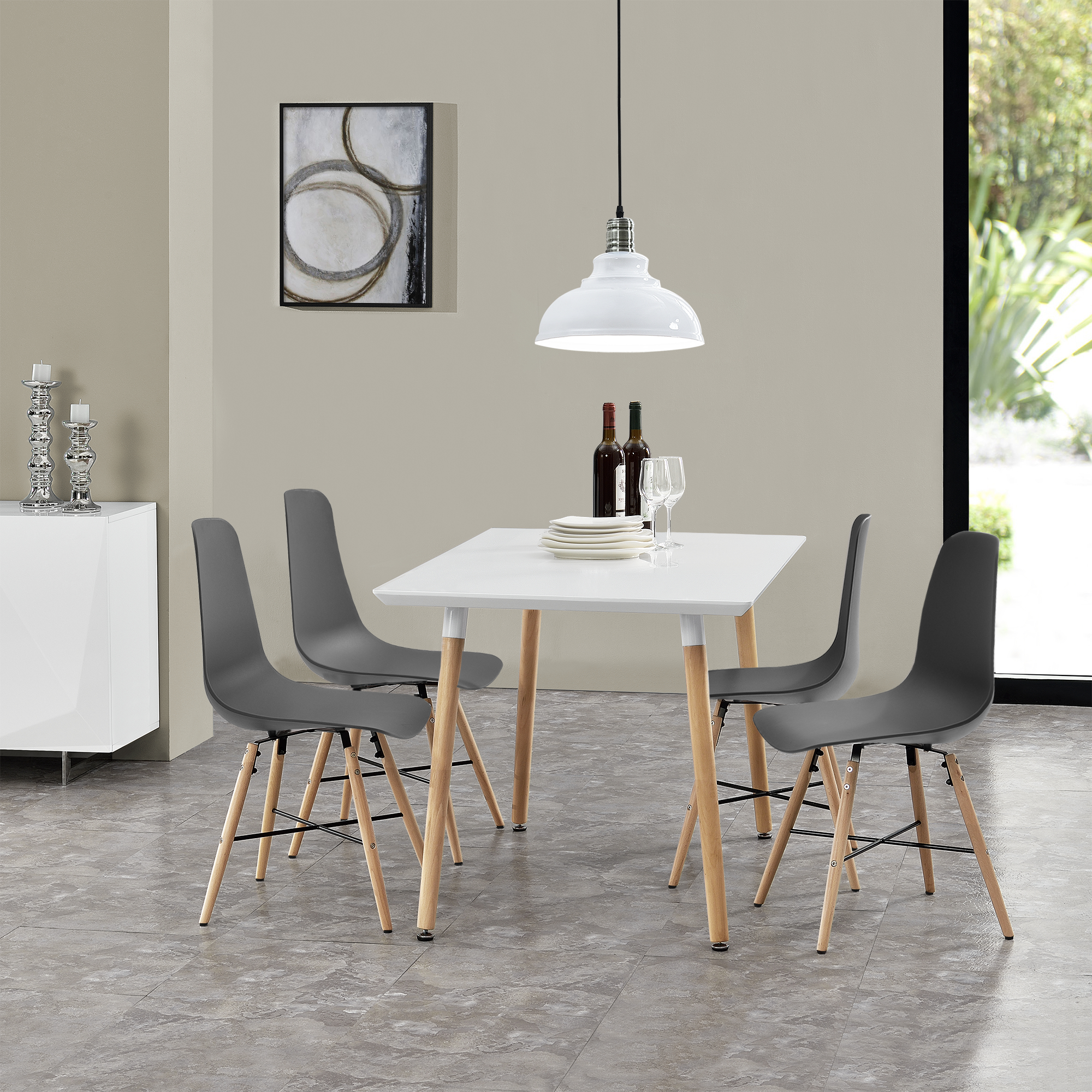 Dining Table With 4 Chairs White/Grey 120x70cm Kitchen