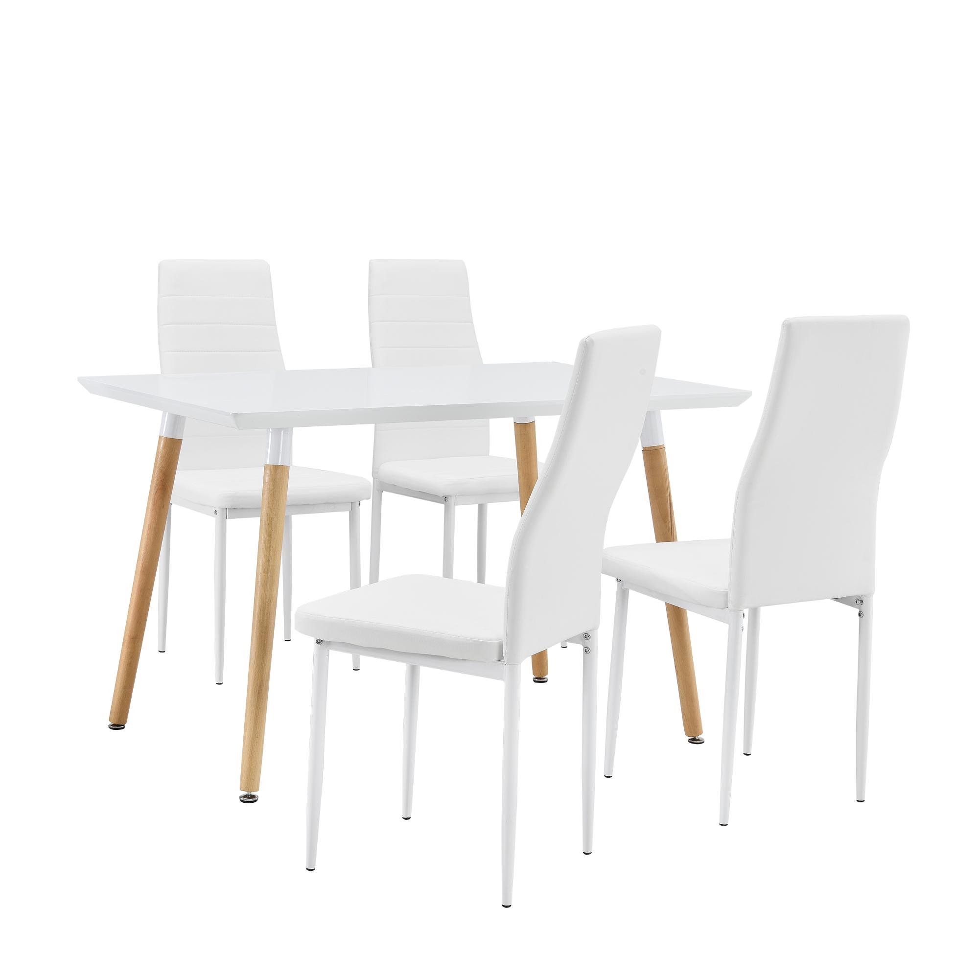 Set de comedor mesa 4 sillas blancas 120x70cm for Sillas blancas apilables