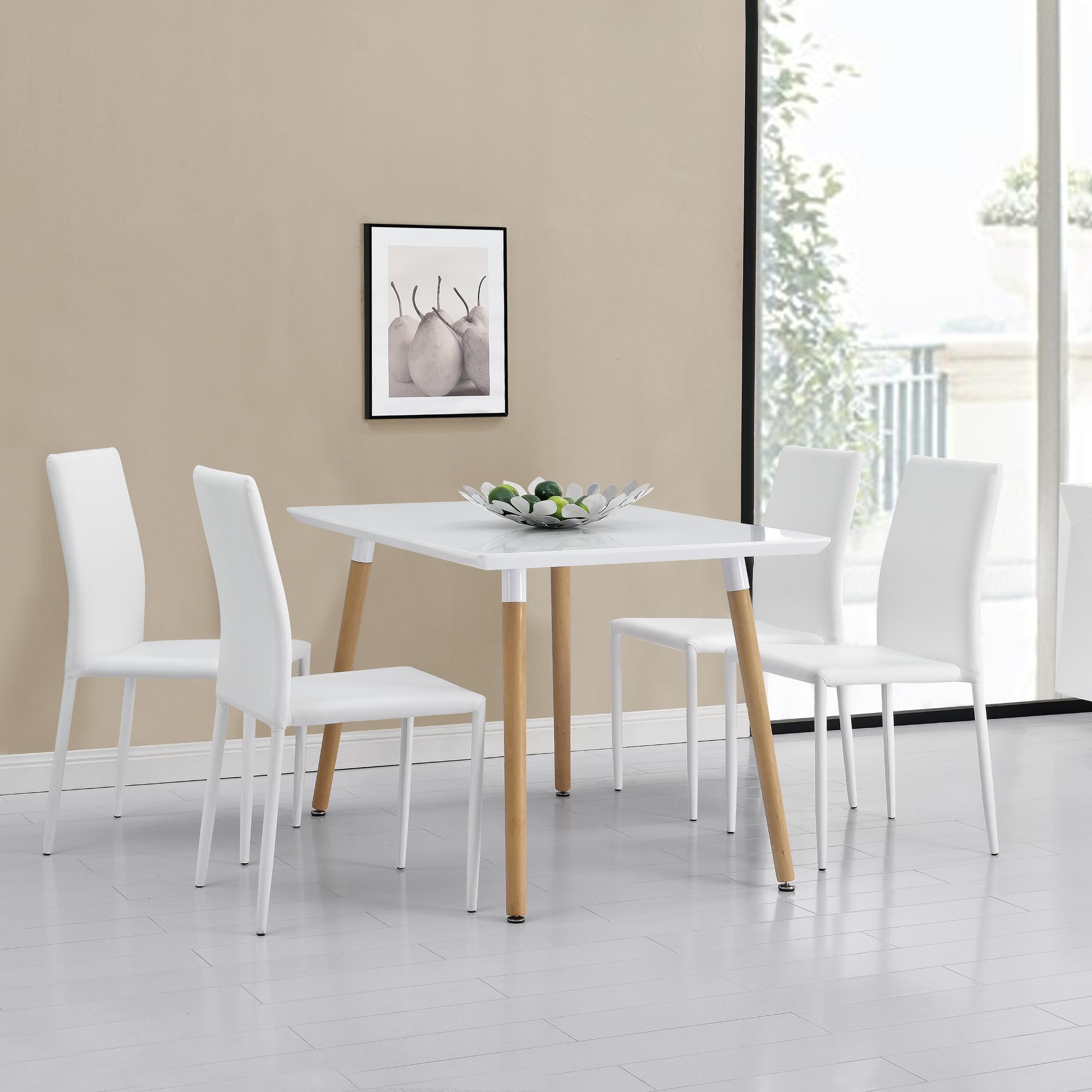 en.casa]® Esstisch mit 4 Stühlen weiß 120x70cm Küchentisch ...