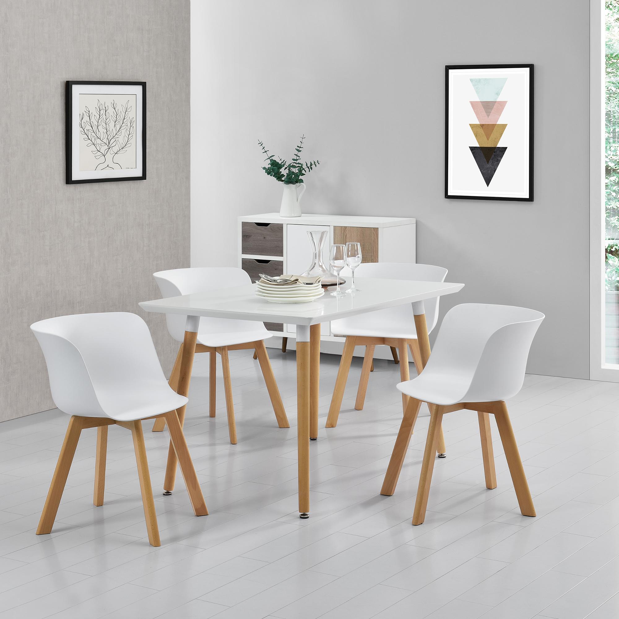 Esstisch mit 4 st hlen wei 120x80cm for Esstisch 50 x 80