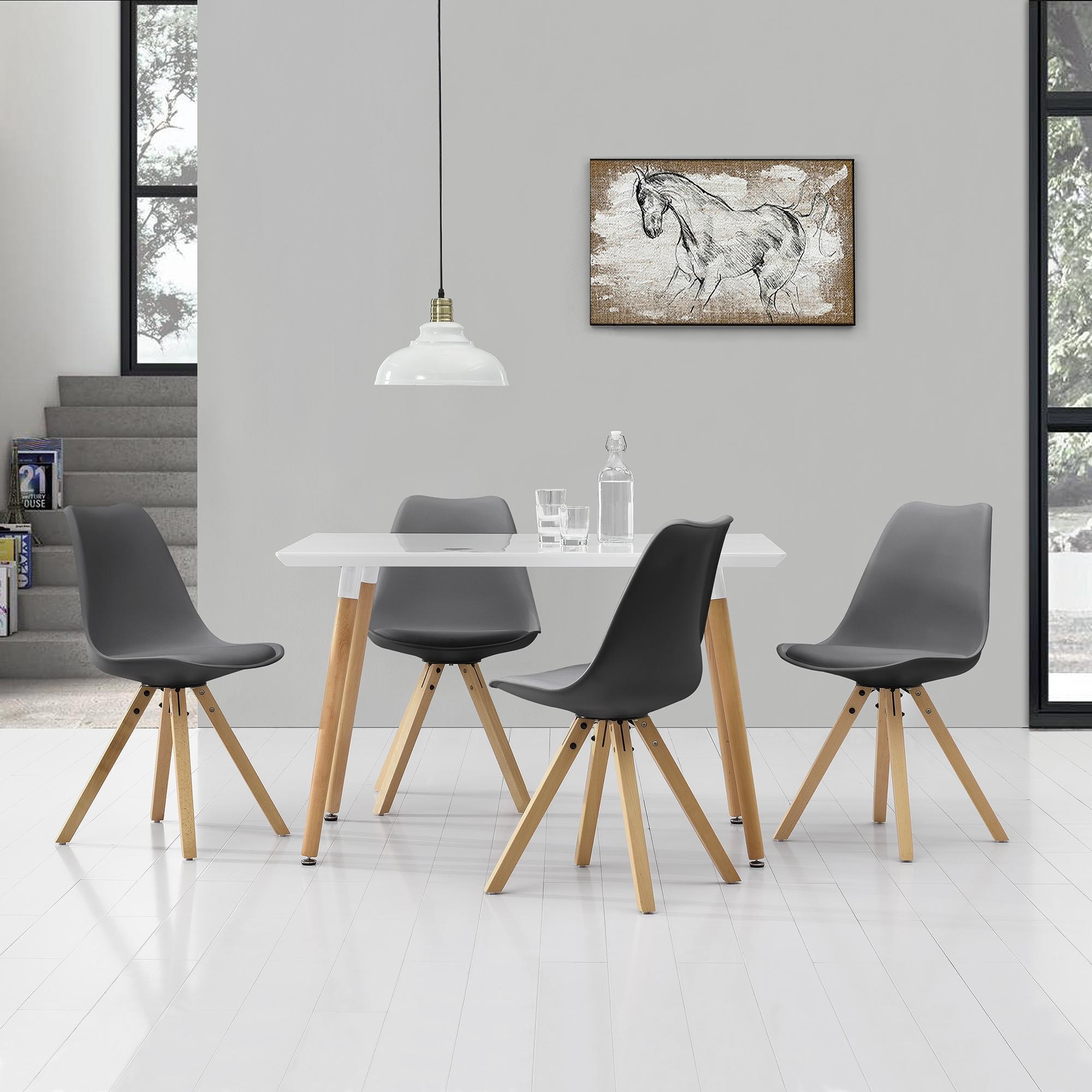 2x [en.casa]® Stühle Esszimmer Creme Kunst-Leder Stuhl Hochlehner ...