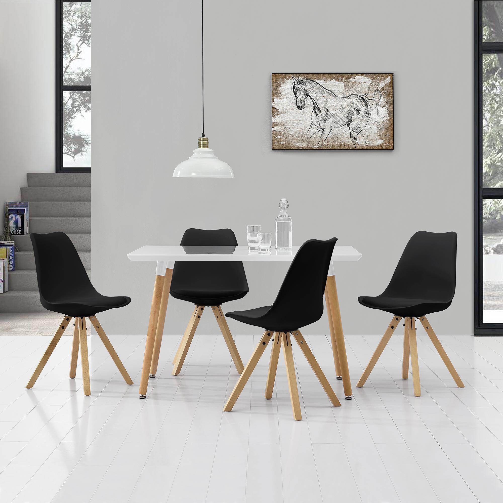 [en.casa]® Esstisch 120x70cm mit Stühlen Küchentisch Esszimmer Tisch Essgruppe 136