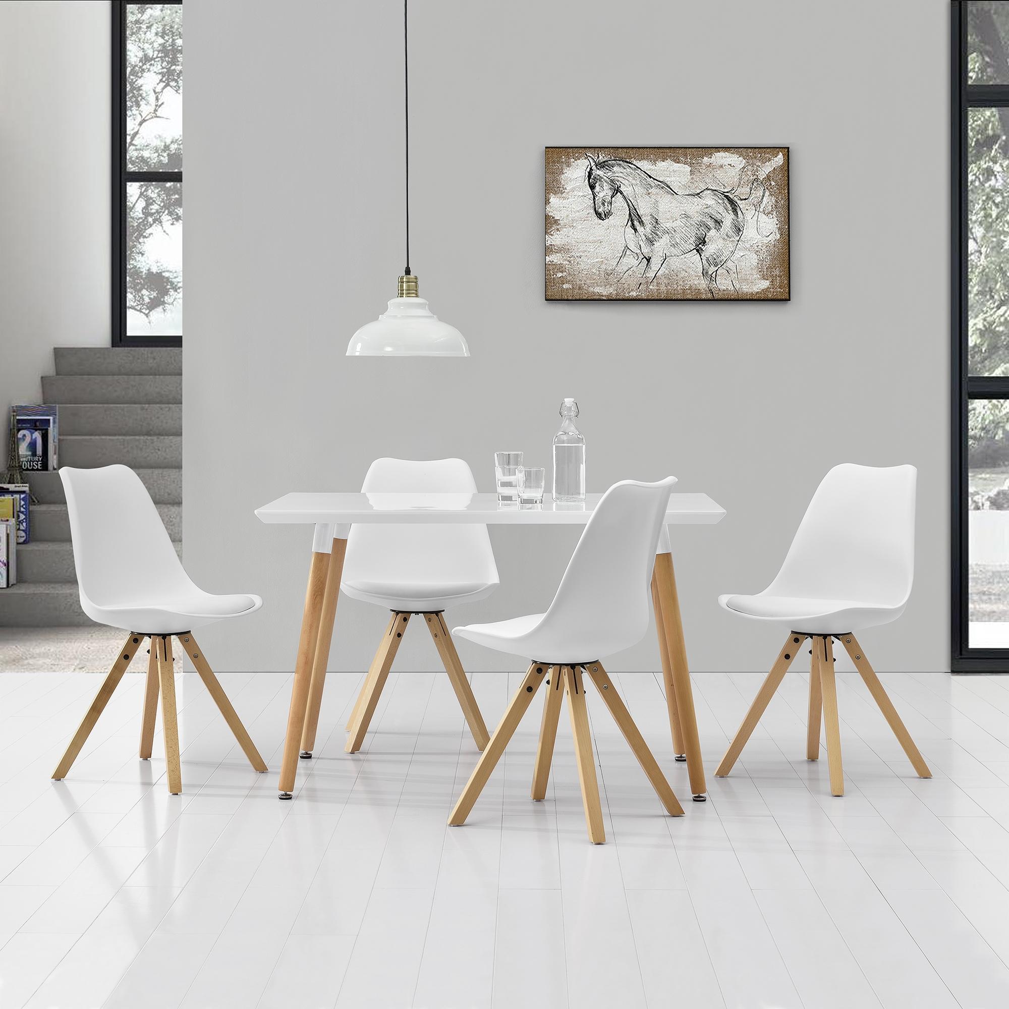 [ensa] Esstisch weiß mit 6 Stühlen dunkelrot [140x90