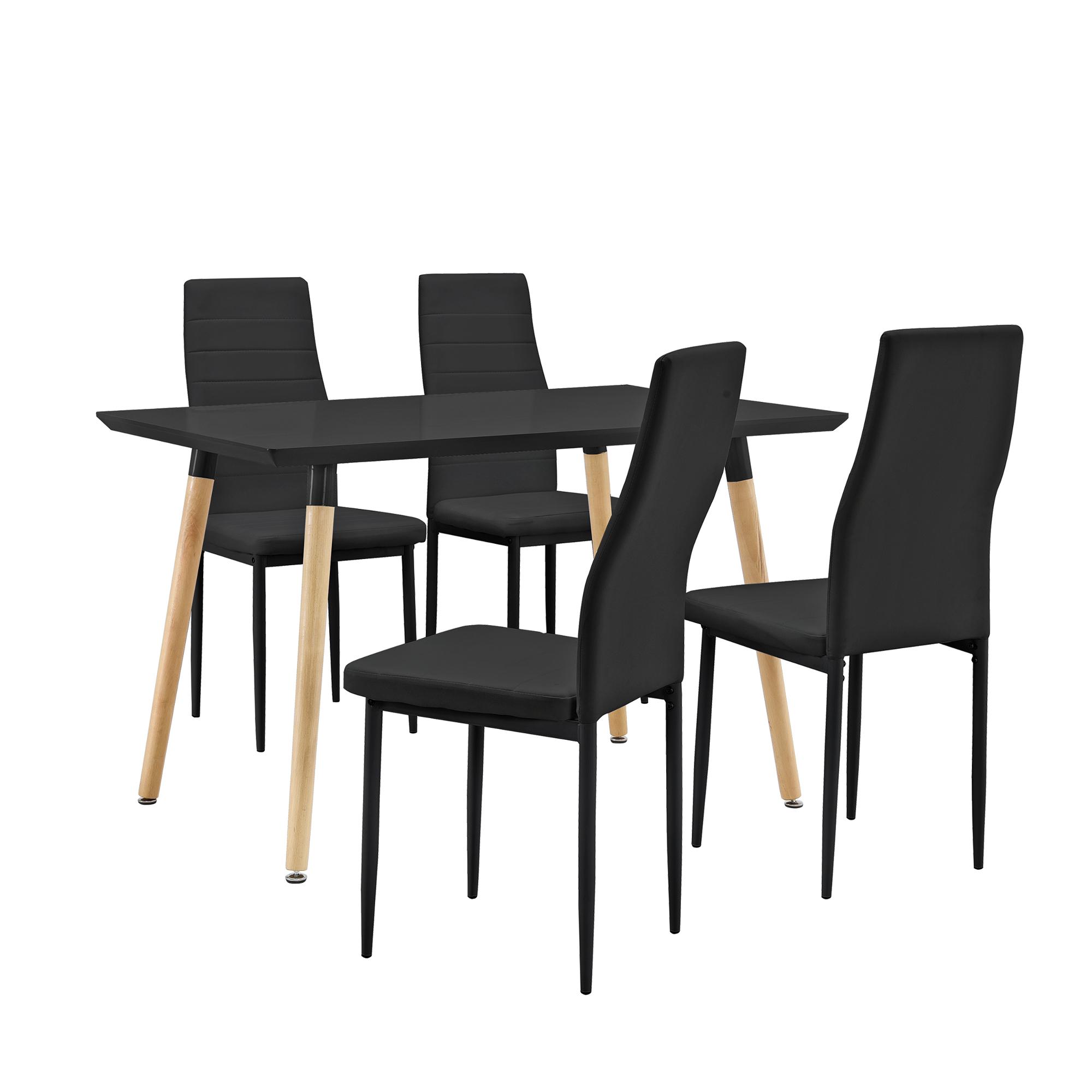 Tavolo da pranzo con 4 sedie nere 120x70cm for Tavolo 70 x 120