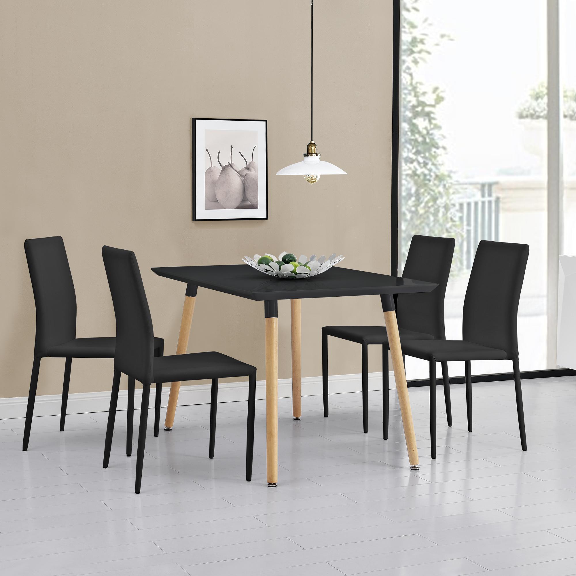 en.casa]® Esstisch mit 4 Stühlen schwarz 120x70cm Küchentisch ...