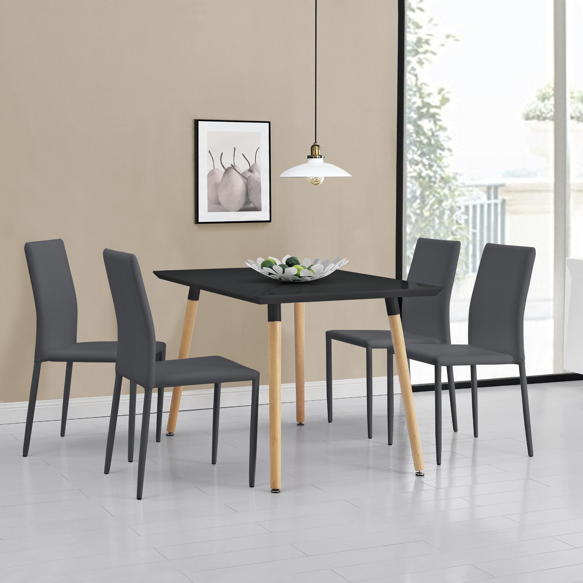 Tavolo da pranzo con 4 sedie nere grigie 120x70 for Tavolo cucina 4 posti