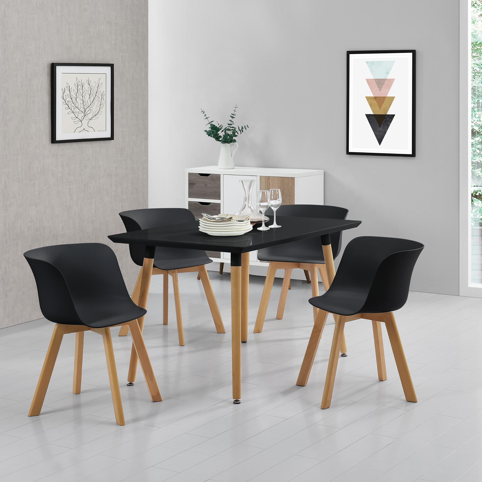 Tavolo da pranzo 4 sedie nere 120x70cm tavolo for Tavolo cucina 4 posti