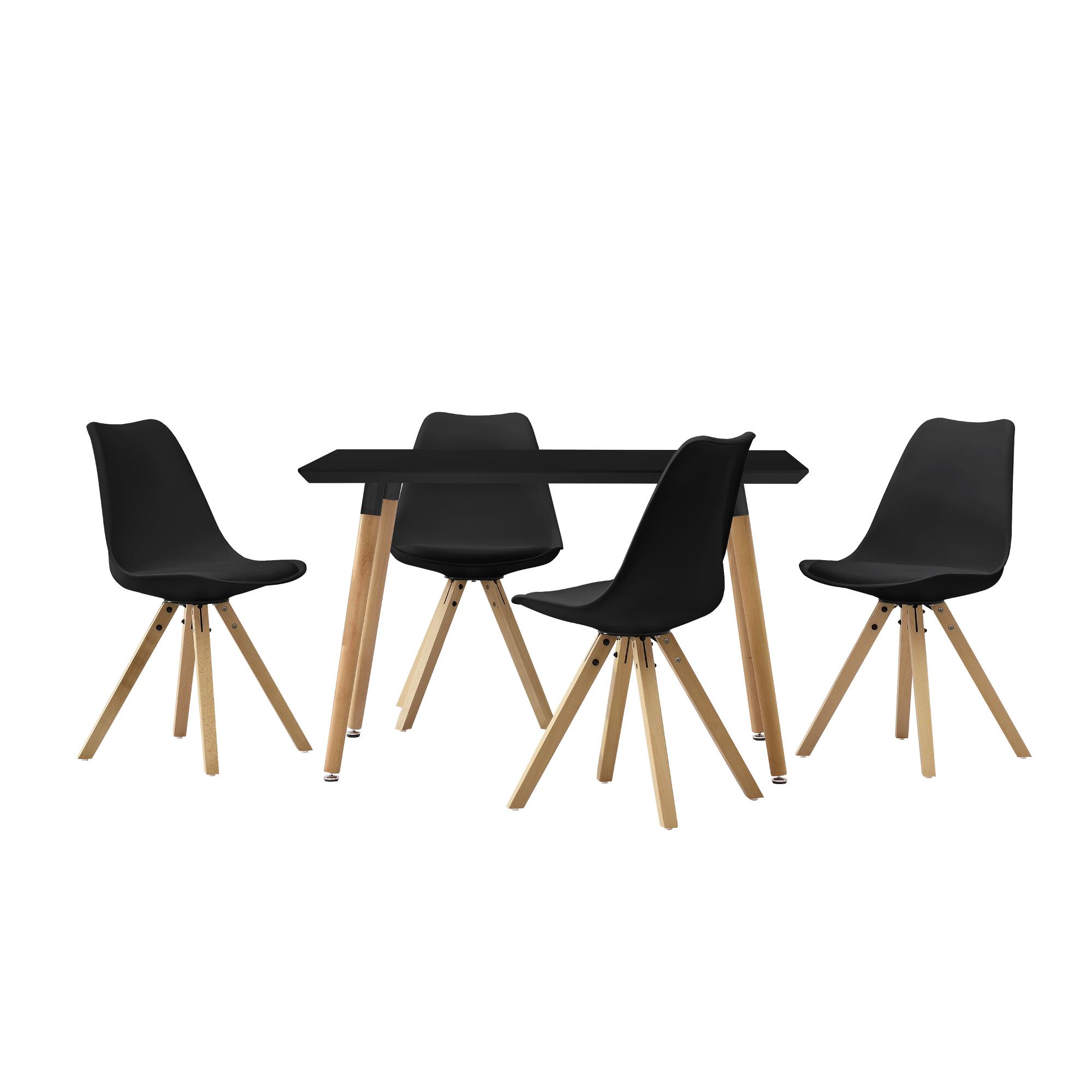 [en.casa]® Esstisch 120x70cm mit Stühlen Küchentisch Esszimmer Tisch Essgruppe 98