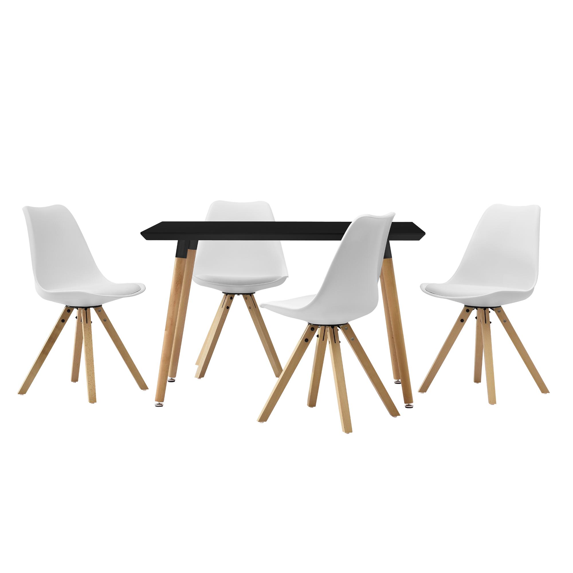 [en.casa]® Esstisch 120x70cm mit Stühlen Küchentisch Esszimmer Tisch Essgruppe 108