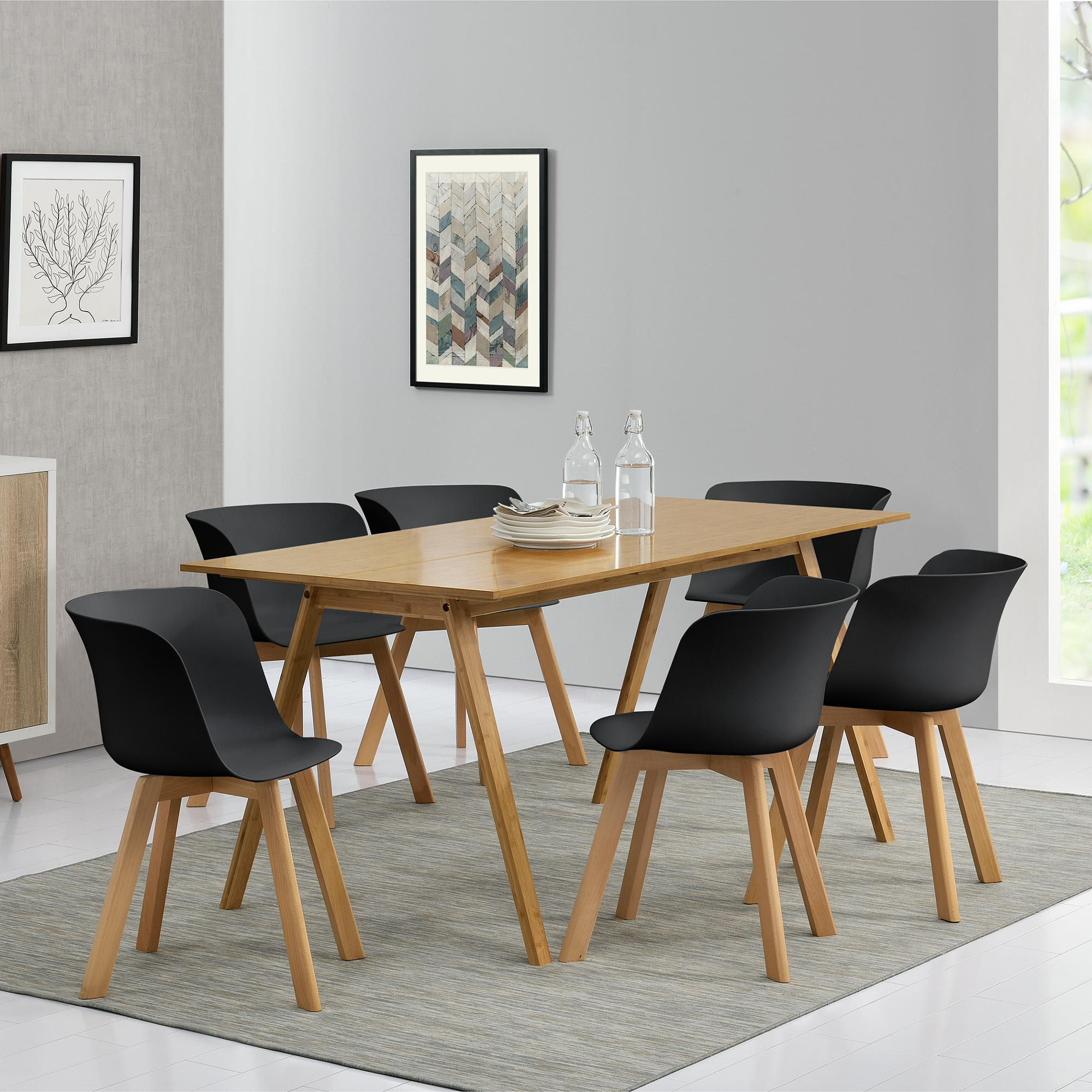 en.casa]® Tavolo da pranzo con 6 sedie bambú/nere 180x80 tavolo ...