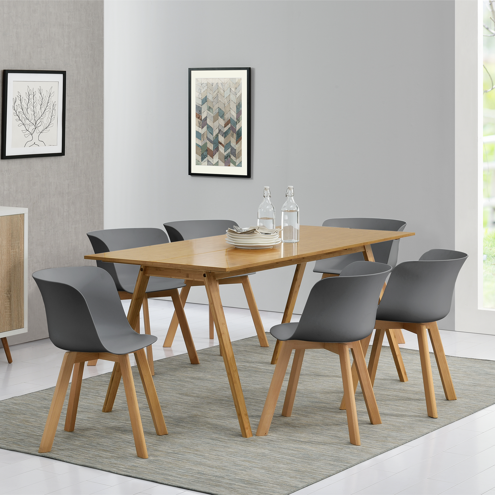 Table de salle manger mit 6 chaises bambou for Table de cuisine salle a manger 6 chaises ella