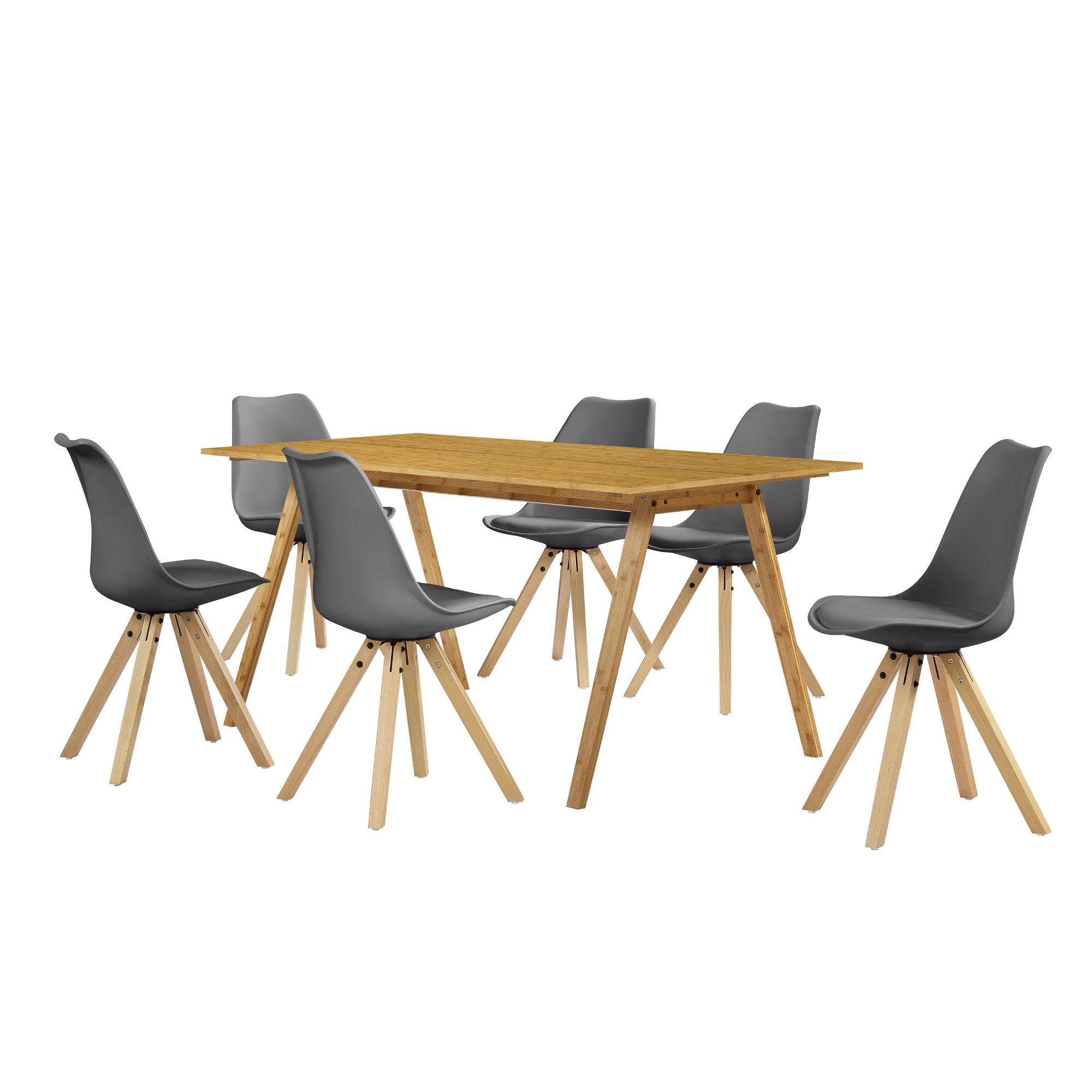 esstisch bambus mit 6 st hlen grau gepolstert tisch 180x80 st hle ebay