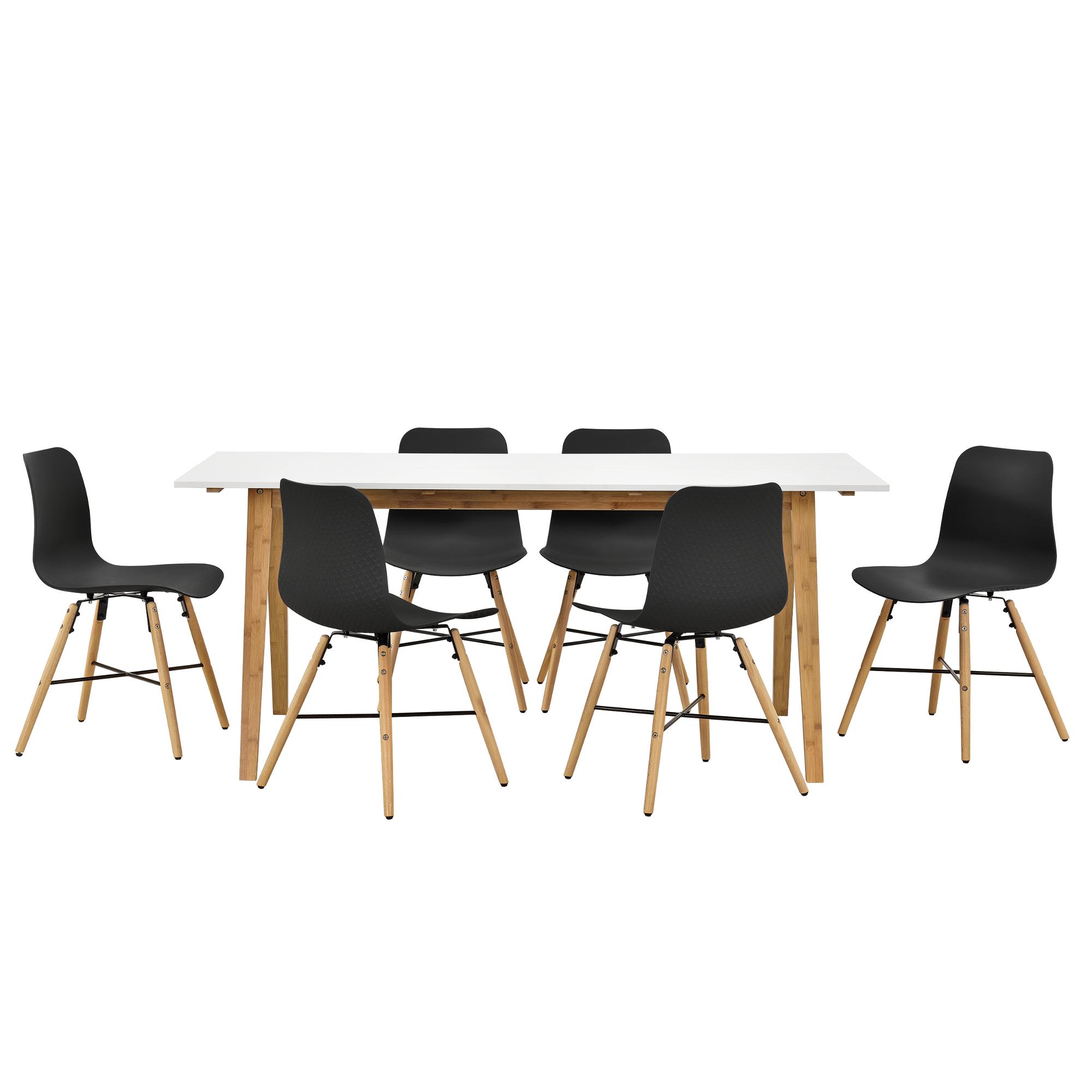 table de manger blanc avec 6 chaises noir avec motif 180x80 cuisine ebay. Black Bedroom Furniture Sets. Home Design Ideas