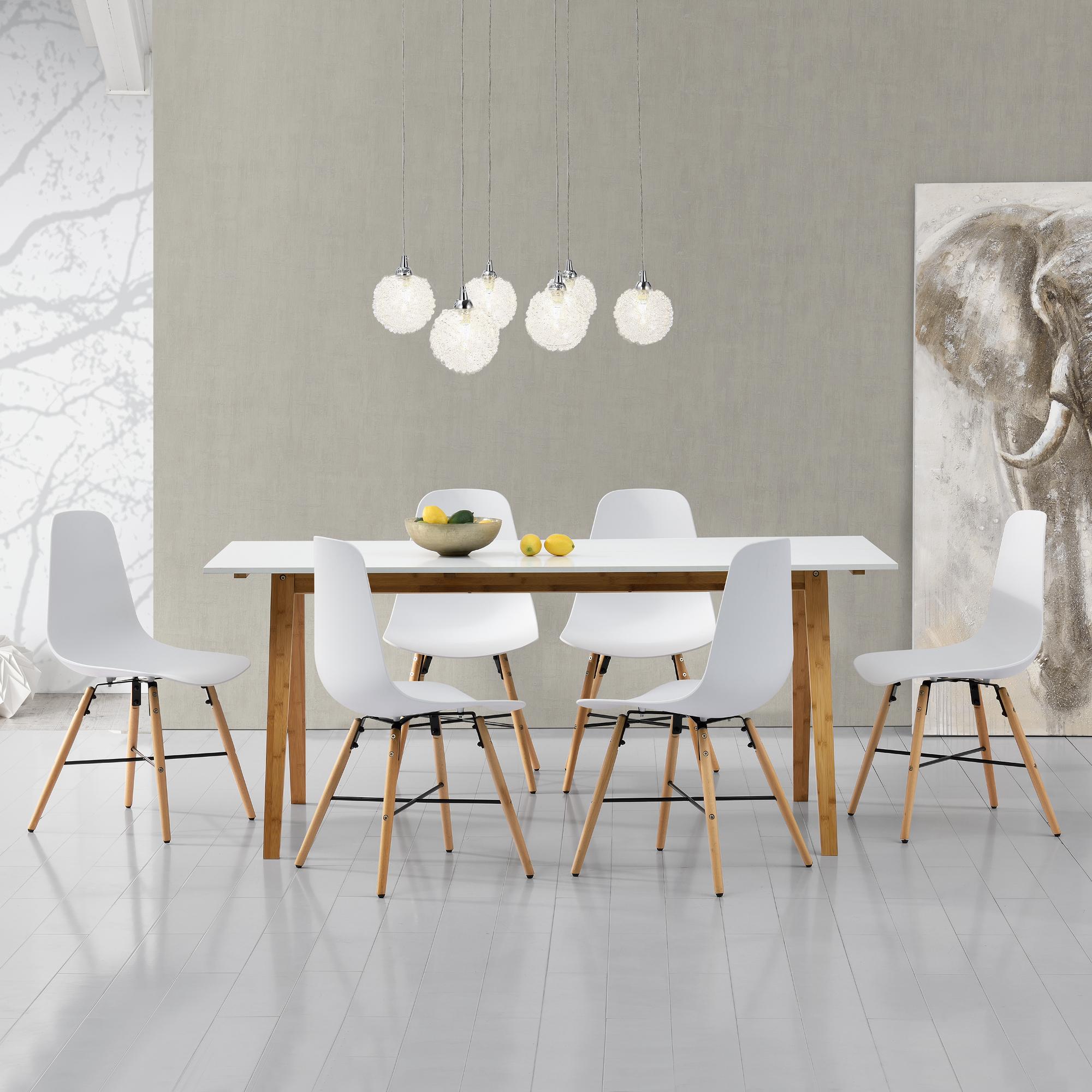 esstisch wei mit 6 st hlen wei 180x80 k chentisch esszimmertisch ebay. Black Bedroom Furniture Sets. Home Design Ideas