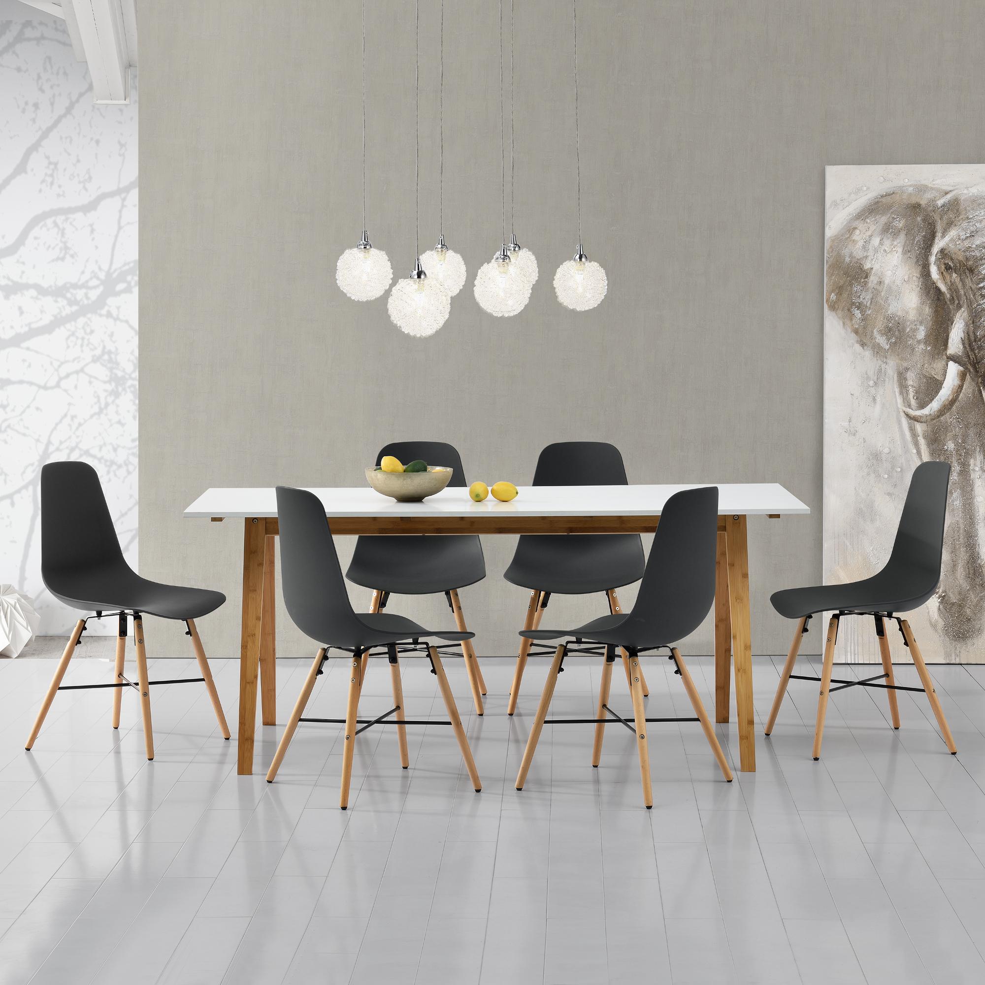 en.casa]® Set de comedor mesa blanca + 6 sillas grises 180x80 ...