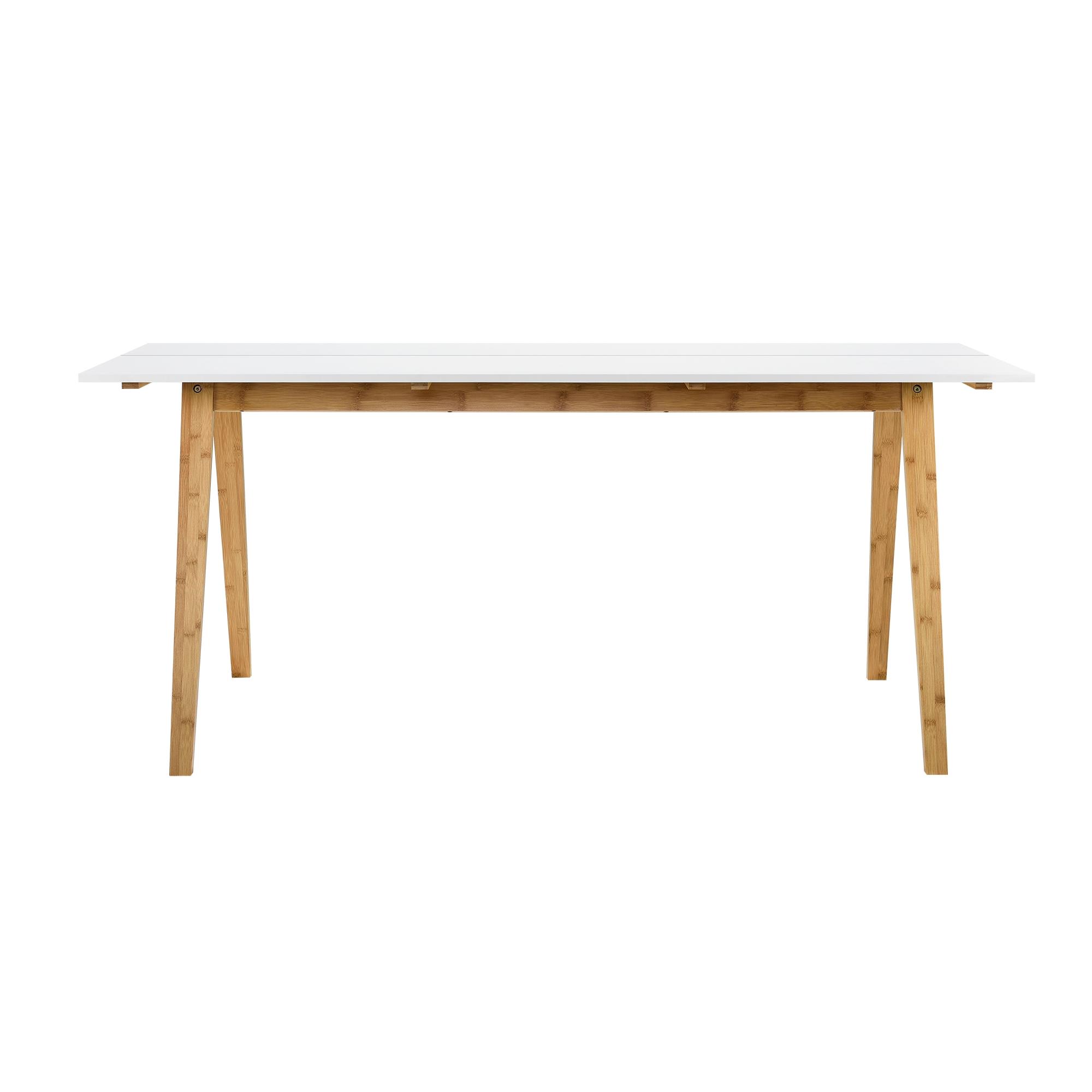 esstisch wei lack bambus 180x80cm esszimmer k che tisch holz ebay. Black Bedroom Furniture Sets. Home Design Ideas