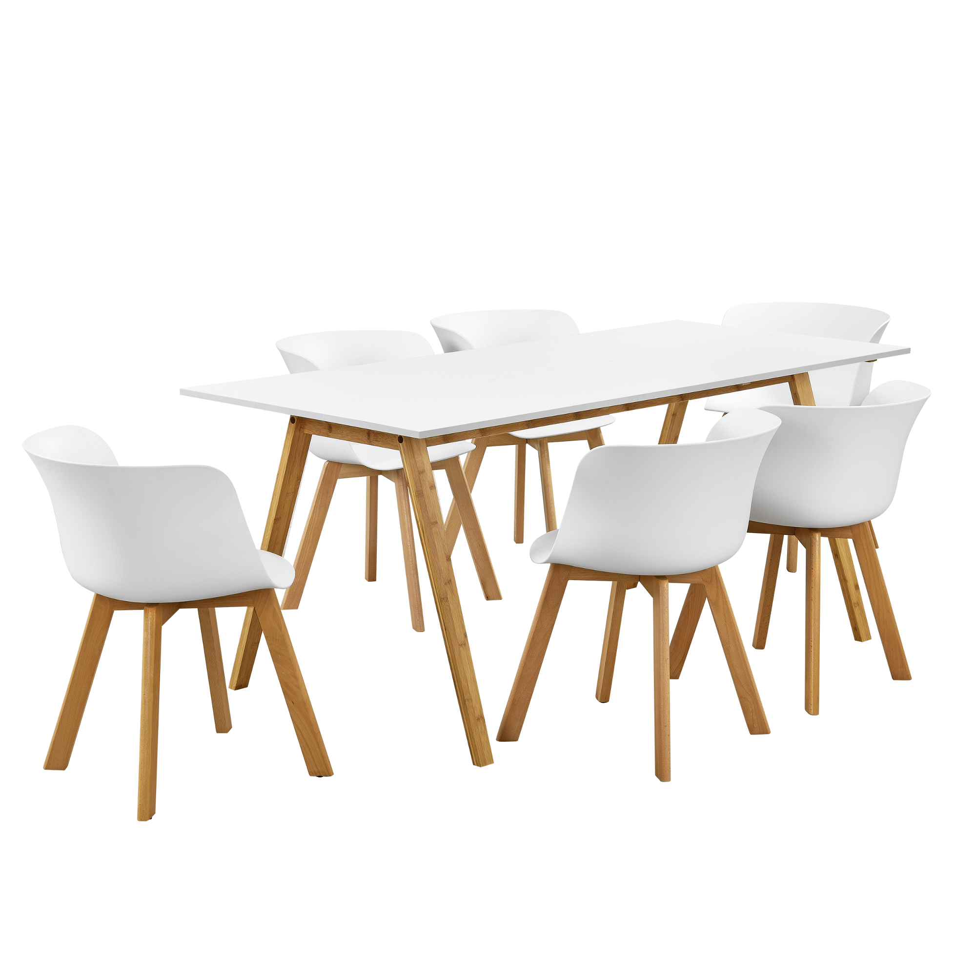 Table de manger avec 6 chaises blanc 180x80 - Set de table en liege ...