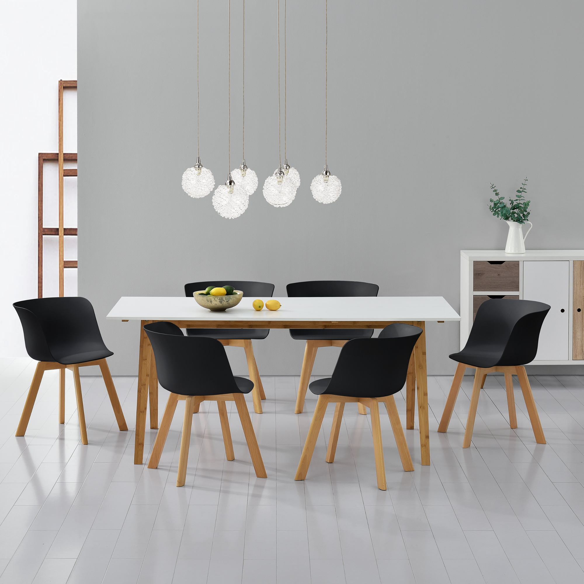En casa dining table bamboo 180x80cm with 6 chairs padded white