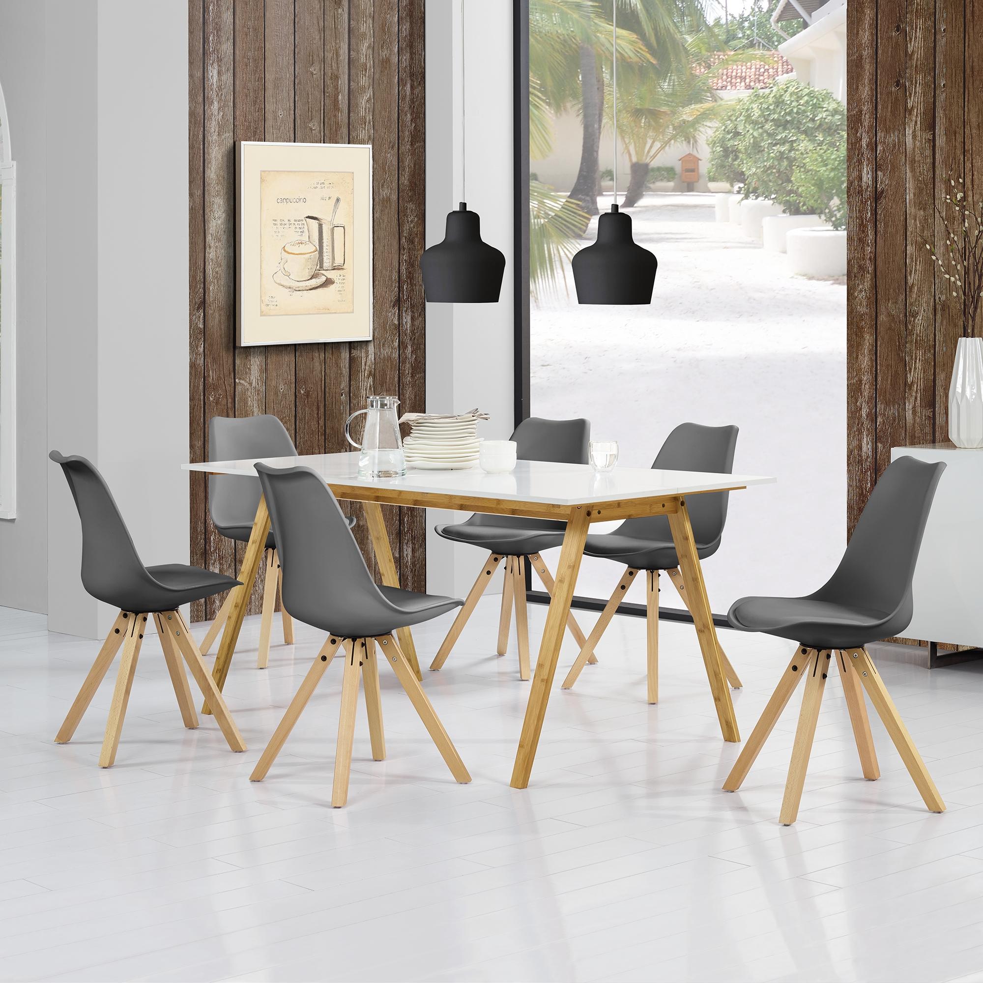 en.casa]® Esstisch Bambus mit 6 Stühlen gepolstert grau Tisch ...