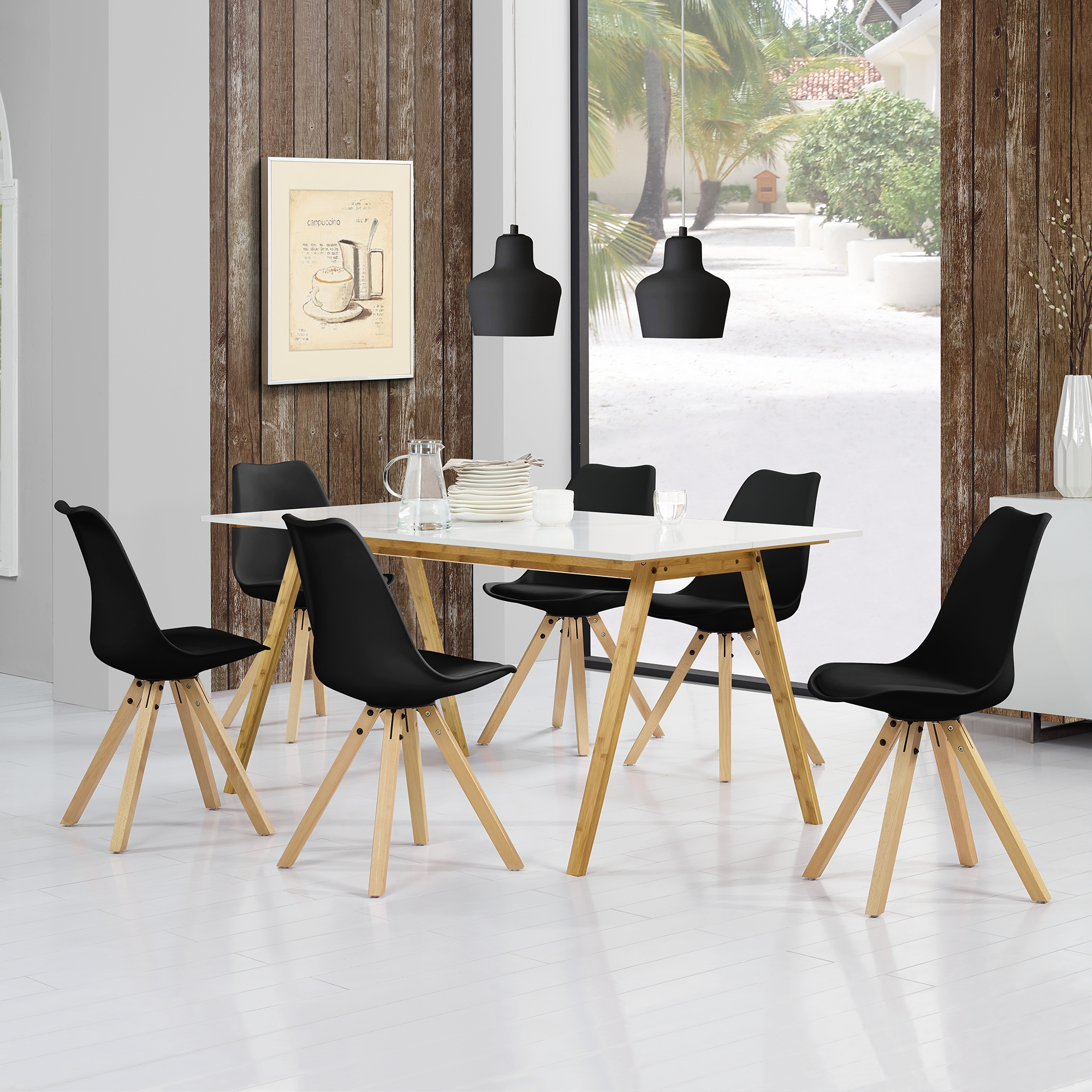 En casa dining table bamboo 180x80cm with 6 chairs padded black kitchen