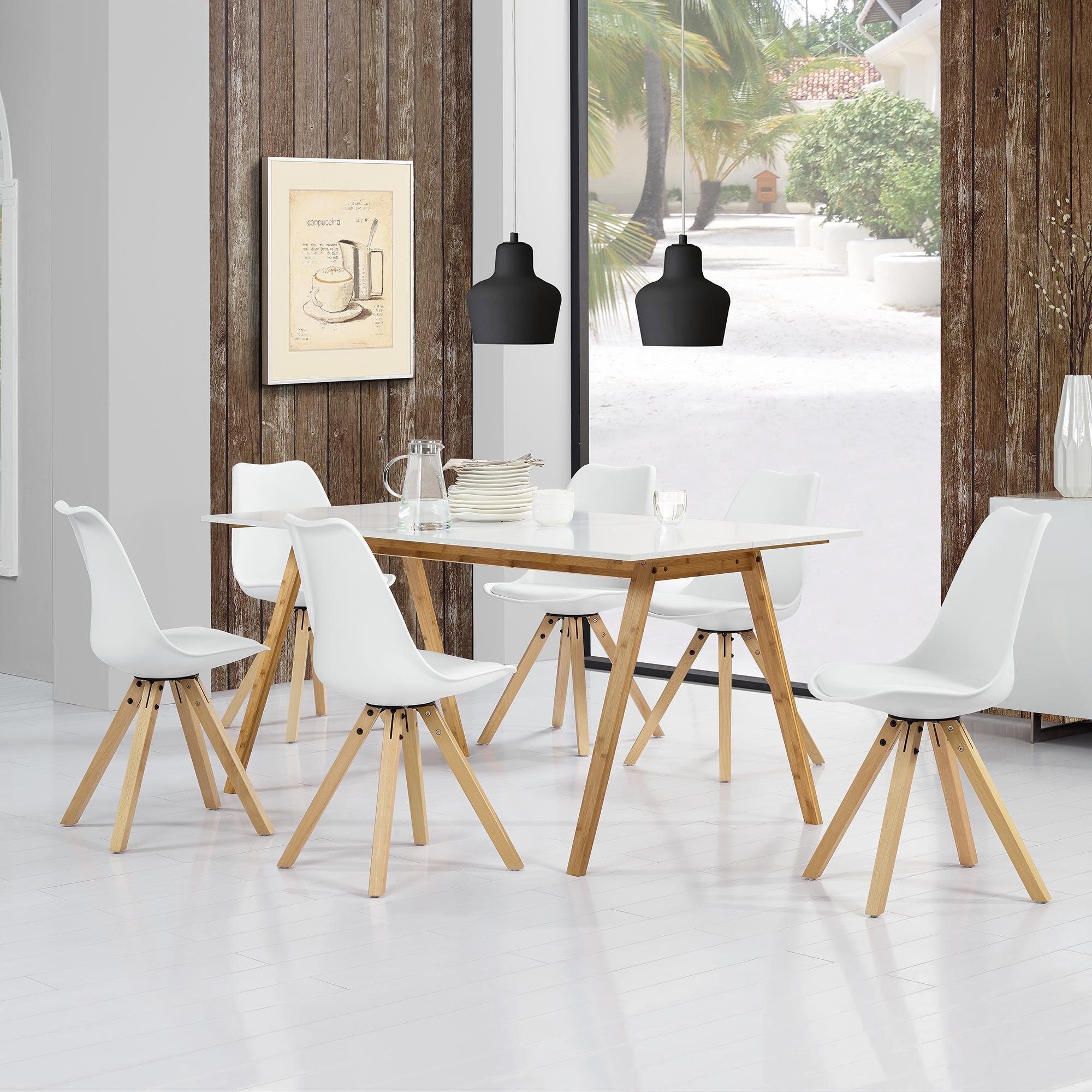 en.casa]® Esstisch Bambus mit 6 Stühlen gepolstert weiß Tisch ...