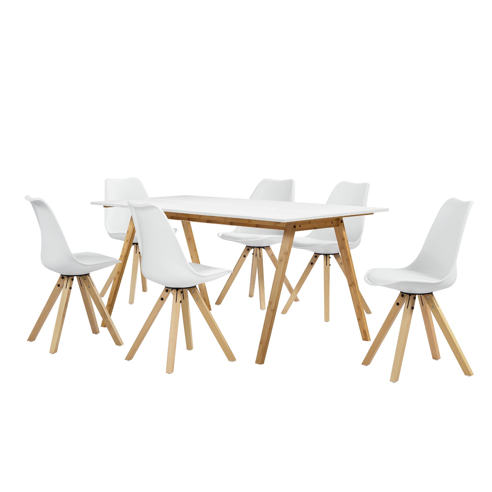 esstisch bambus mit 6 st hlen gepolstert wei tisch 180x80 st hle ebay. Black Bedroom Furniture Sets. Home Design Ideas