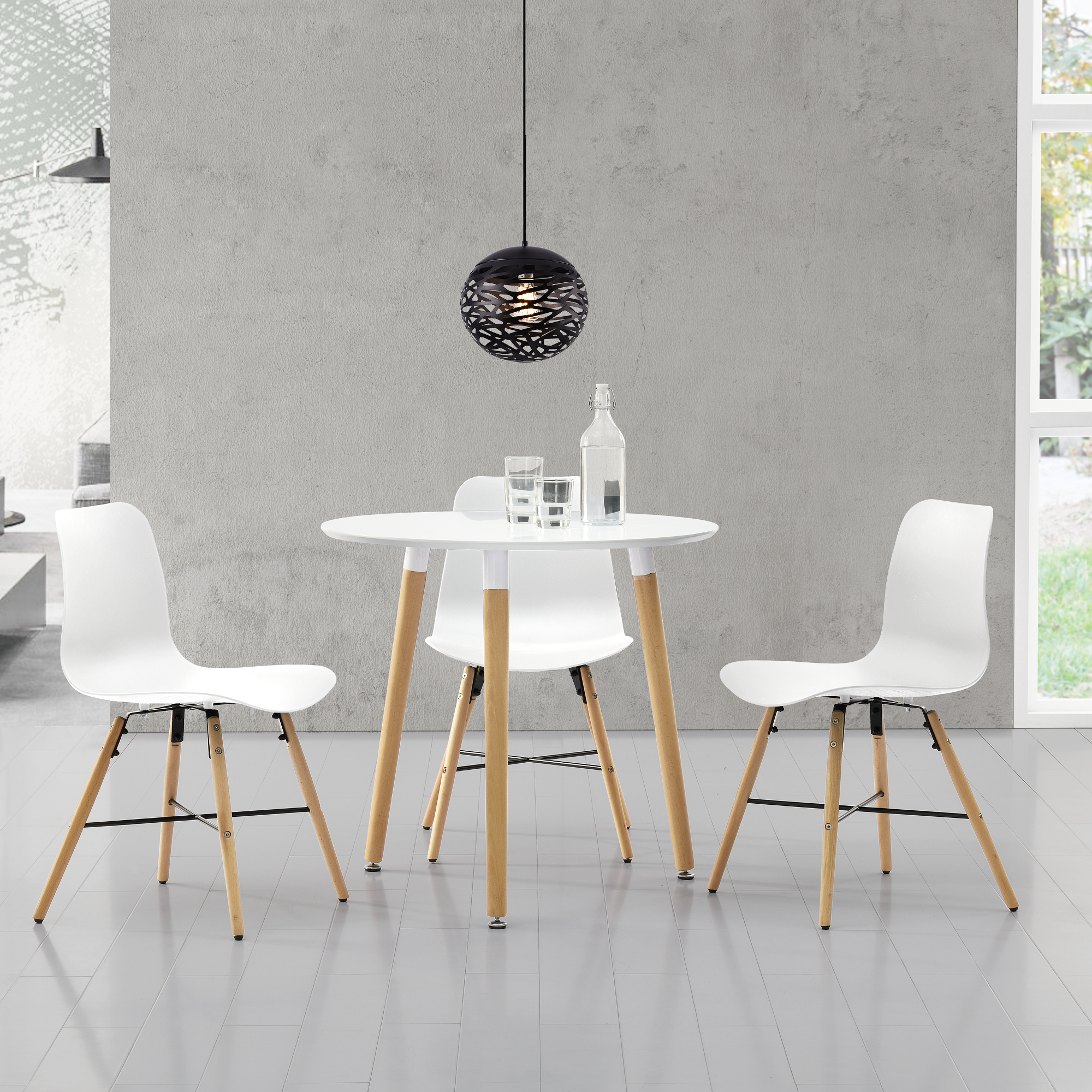 esstisch wei mit 3 st hlen wei 80cm tisch st hle mit muster set ebay. Black Bedroom Furniture Sets. Home Design Ideas