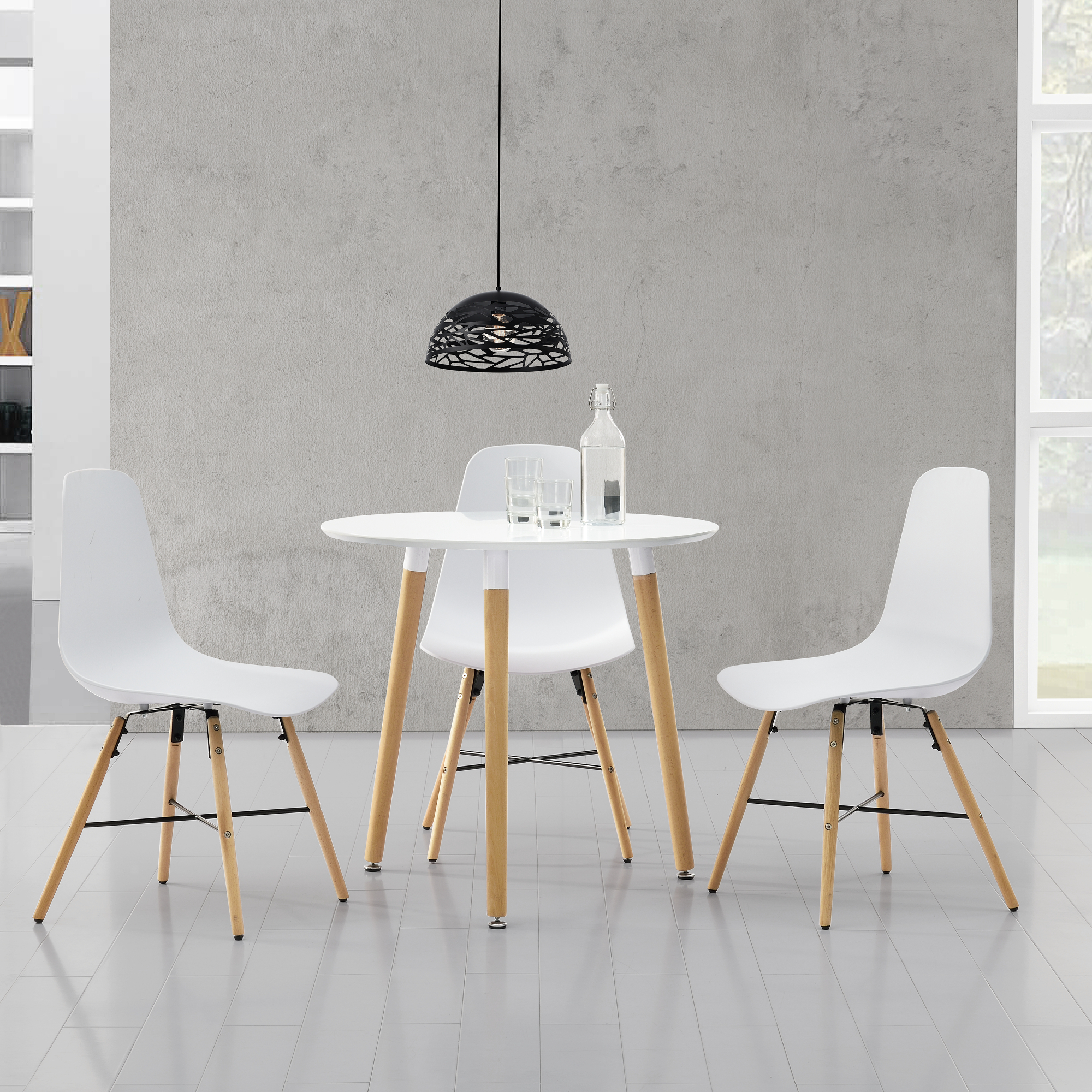 table de salle manger blanc mit 3 chaises 80cm set ebay. Black Bedroom Furniture Sets. Home Design Ideas