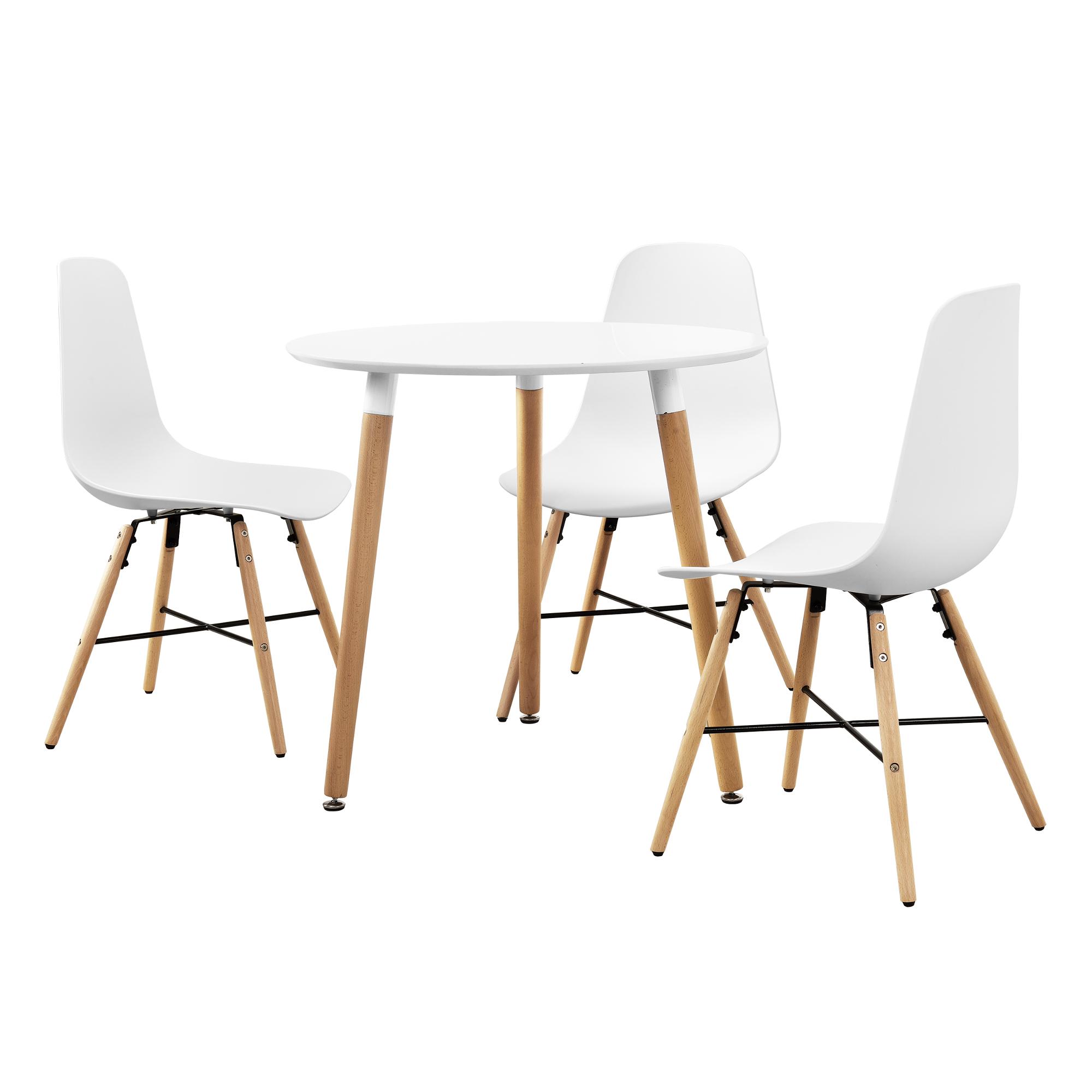 table de salle manger blanc mit 3 chaises 80cm set ebay. Black Bedroom Furniture Sets. Home Design Ideas
