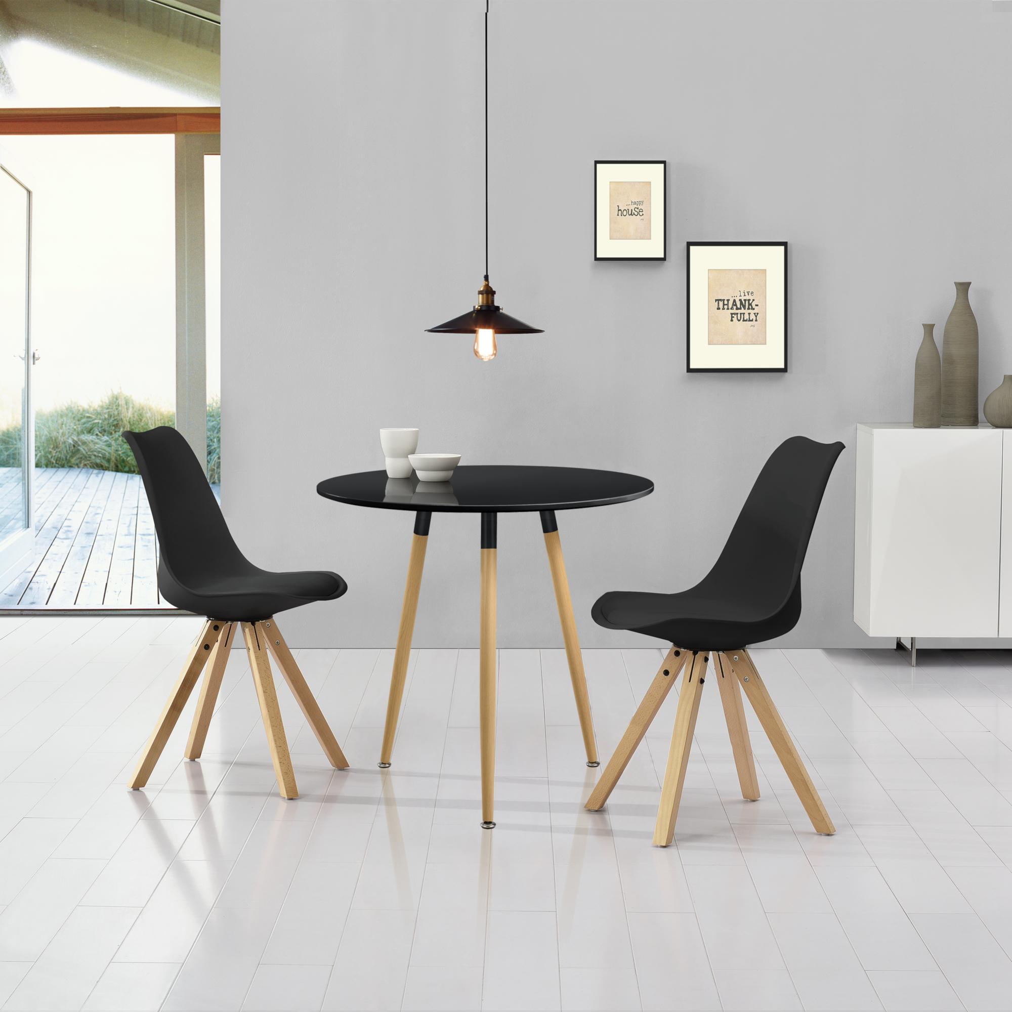 Tavoli Eleganti Sala Da Pranzo dettagli su [en.casa] tavolo da pranzo con 2 sedie nere similpelle Ø80cm  sala pranzo set