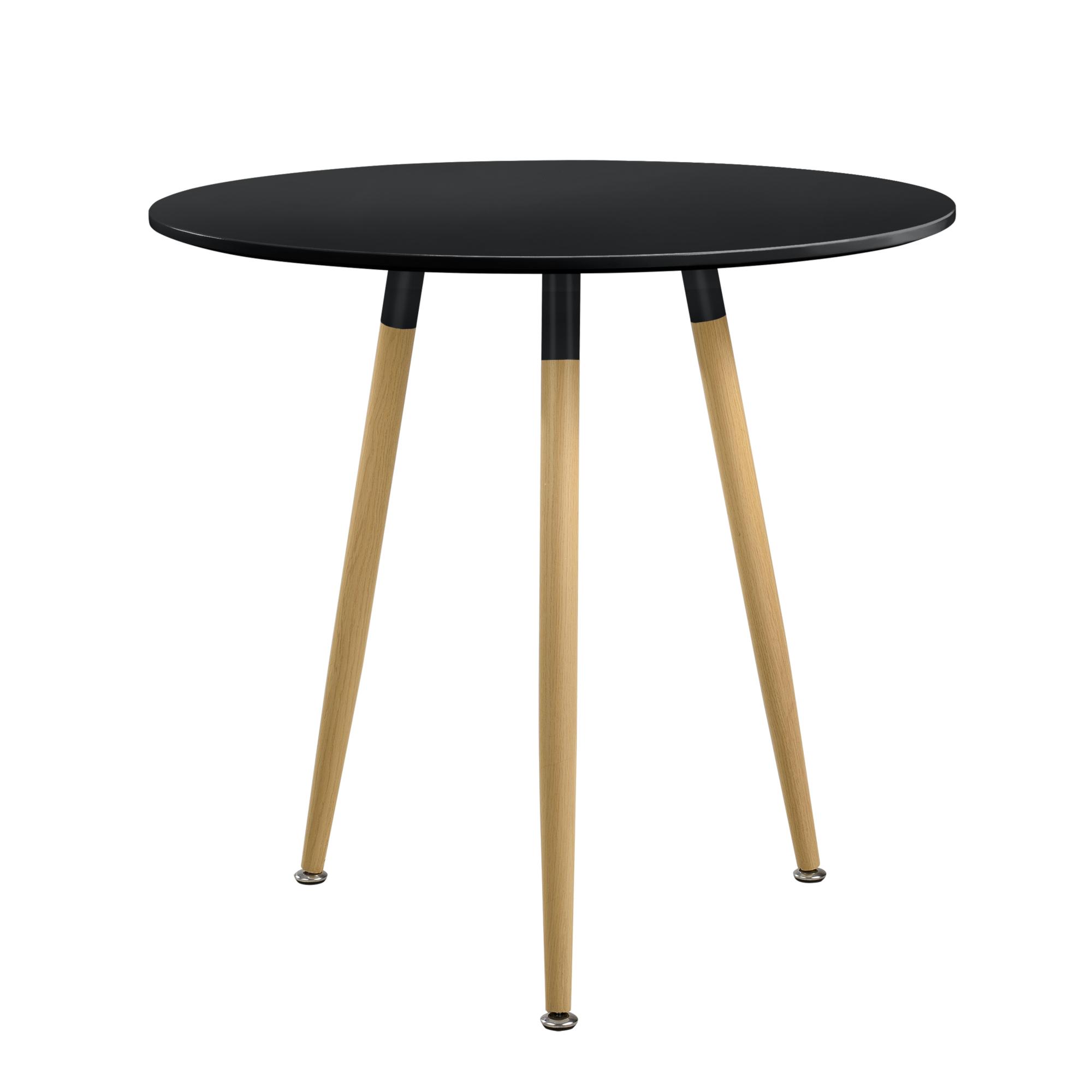 En Casa Table A Manger Ronde Noire H 75cmxo80cm Bois Design