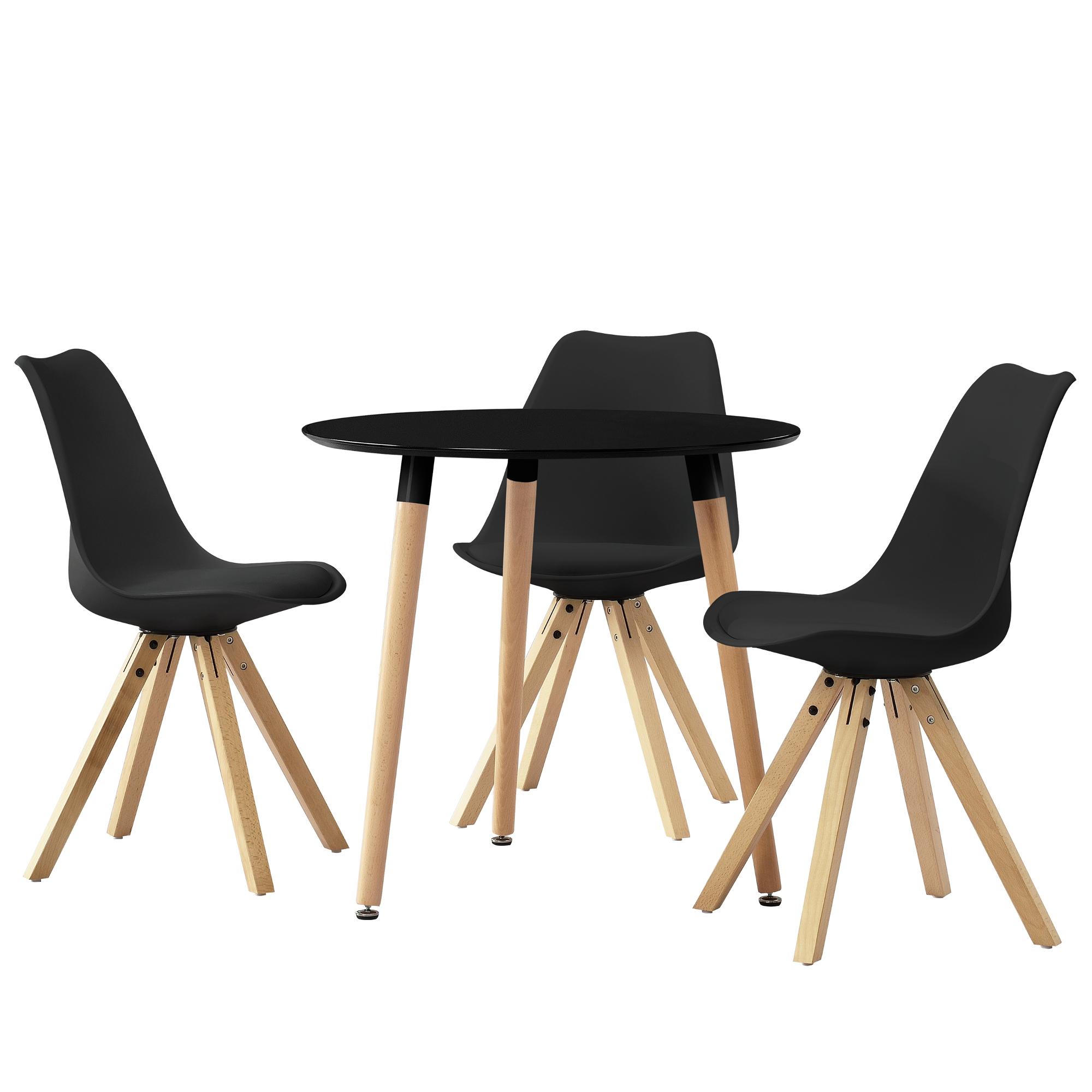 Table de salle manger mit 3 chaises noir 80cm for Table salle manger 80 cm largeur