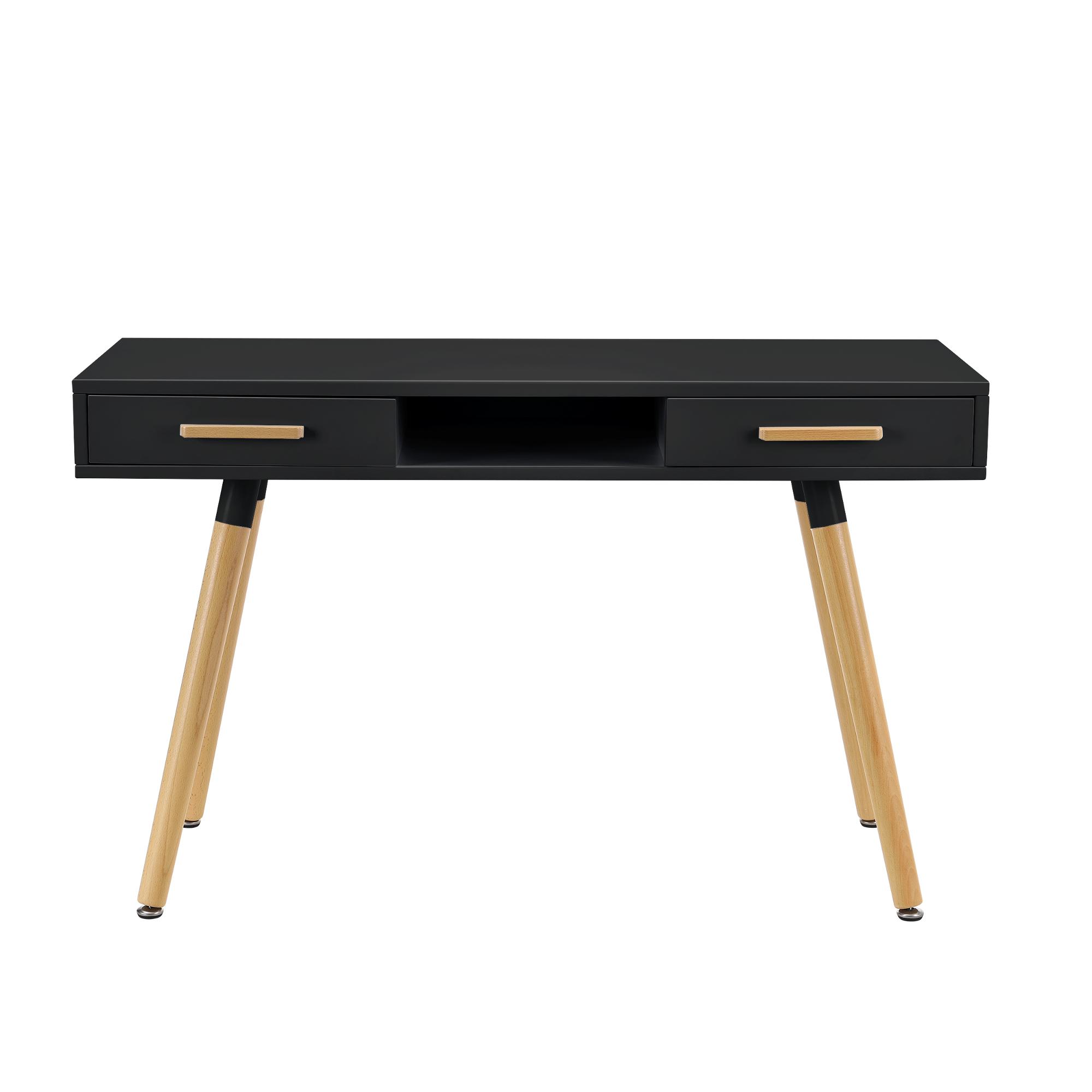R tro bureau noir 120cm table d 39 ordinateur for Table bureau noir