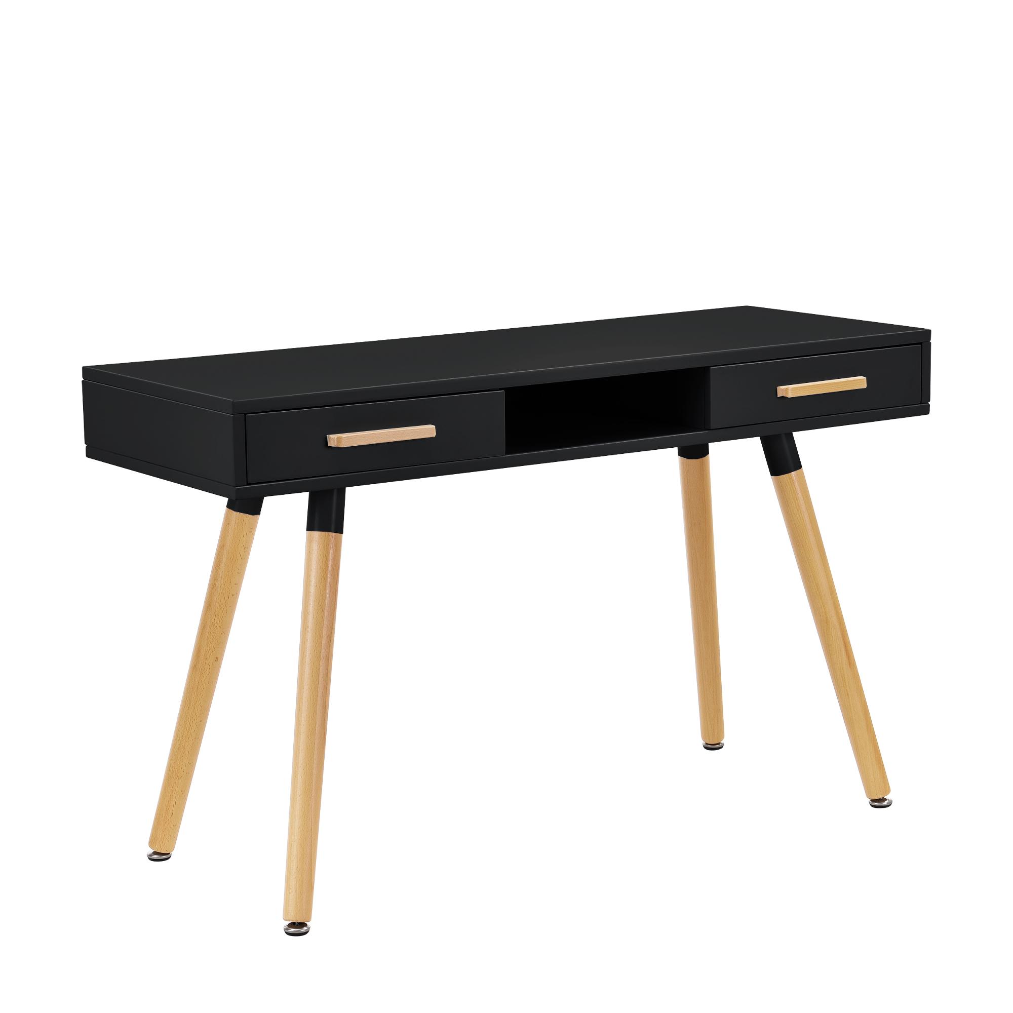 [en.casa]® Birou retro cu sertar si scaun, MDF/plastic, 75 x 120 x 45 cm, negru/alb