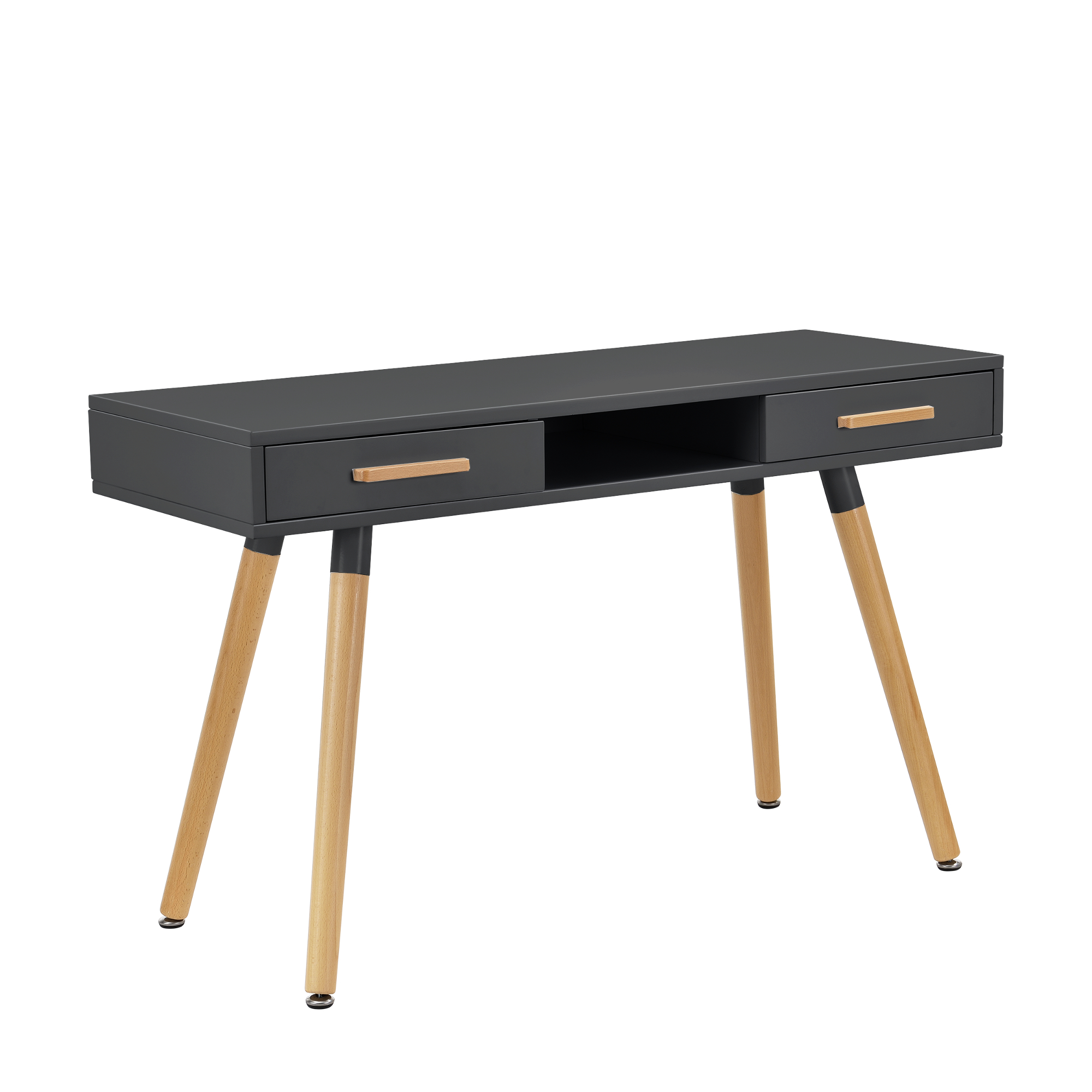[en.casa]® Birou retro cu sertar si scaun, MDF/plastic, 75 x 120 x 45 cm, gri/alb