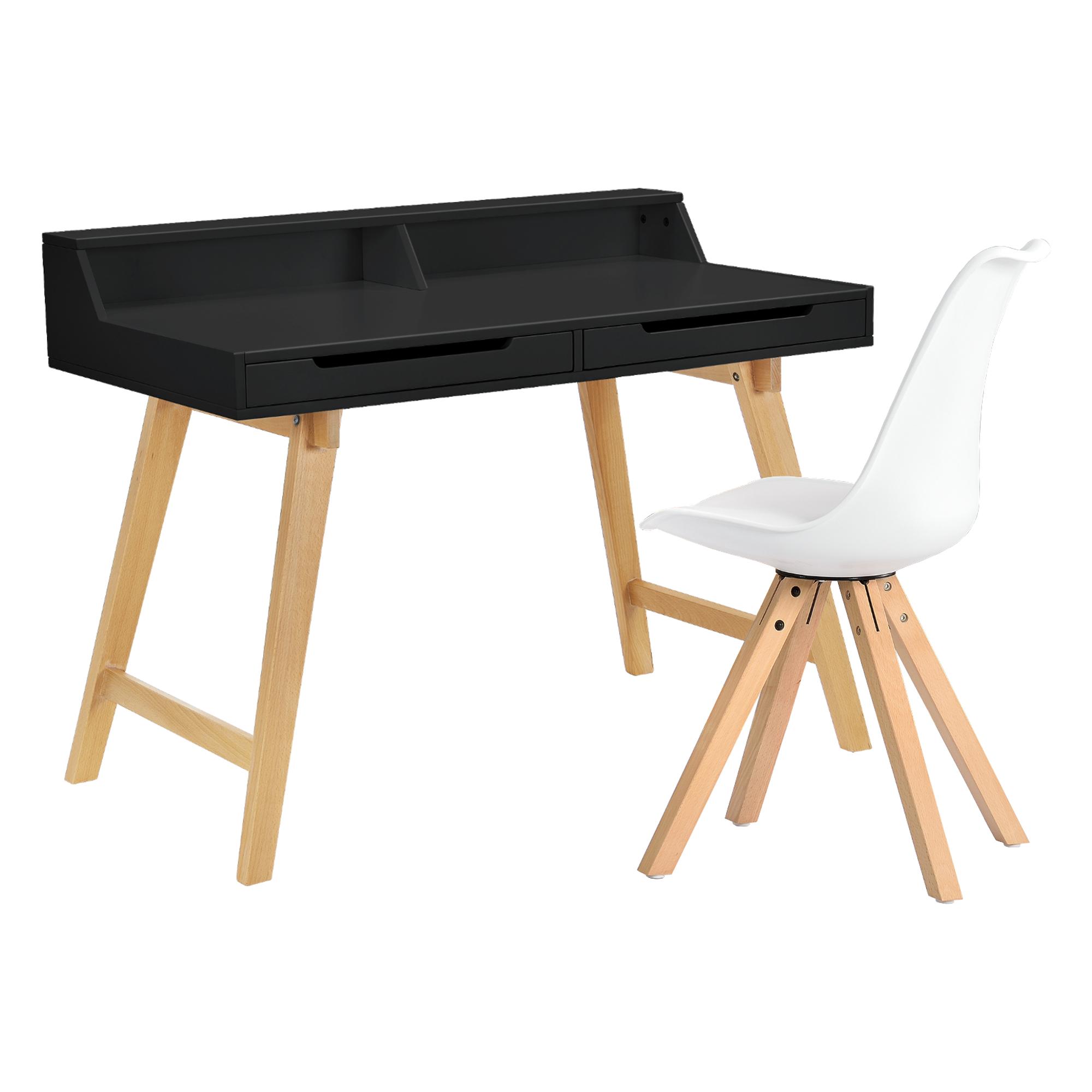 [en.casa]® Psací stůl HTST-3264 se židlí