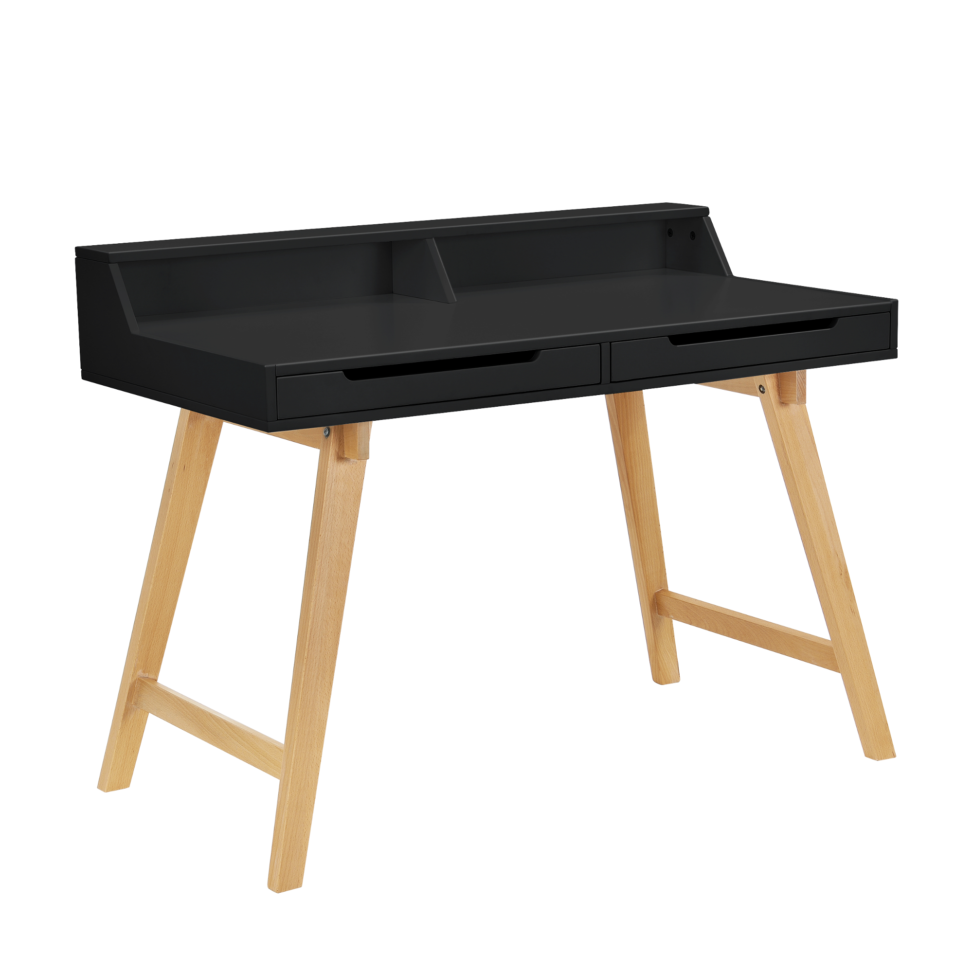 retro desk black beech computer table office. Black Bedroom Furniture Sets. Home Design Ideas