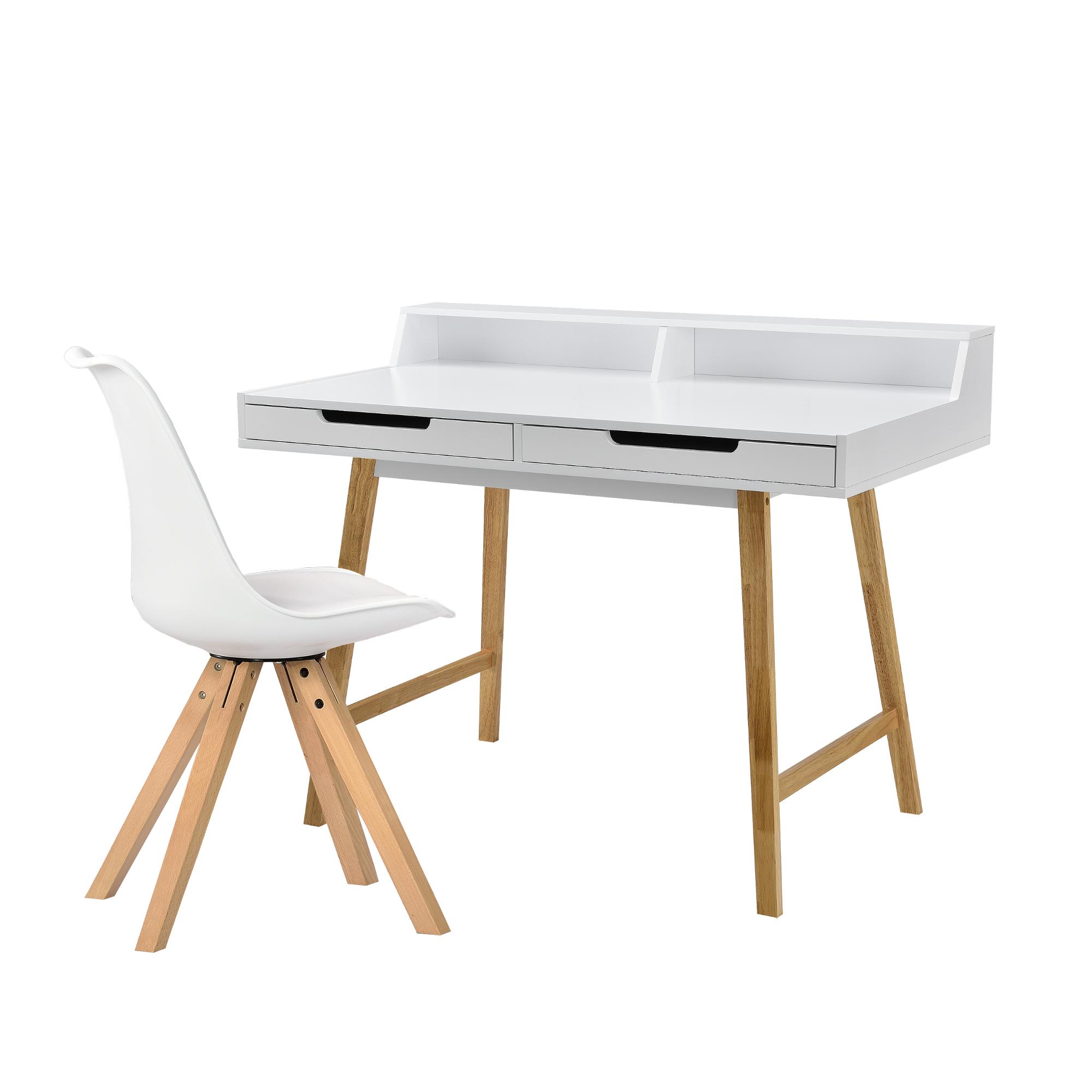 EncasaRetro Bureau Avec Chaise Blanc Meuble Dordinateur Table Console