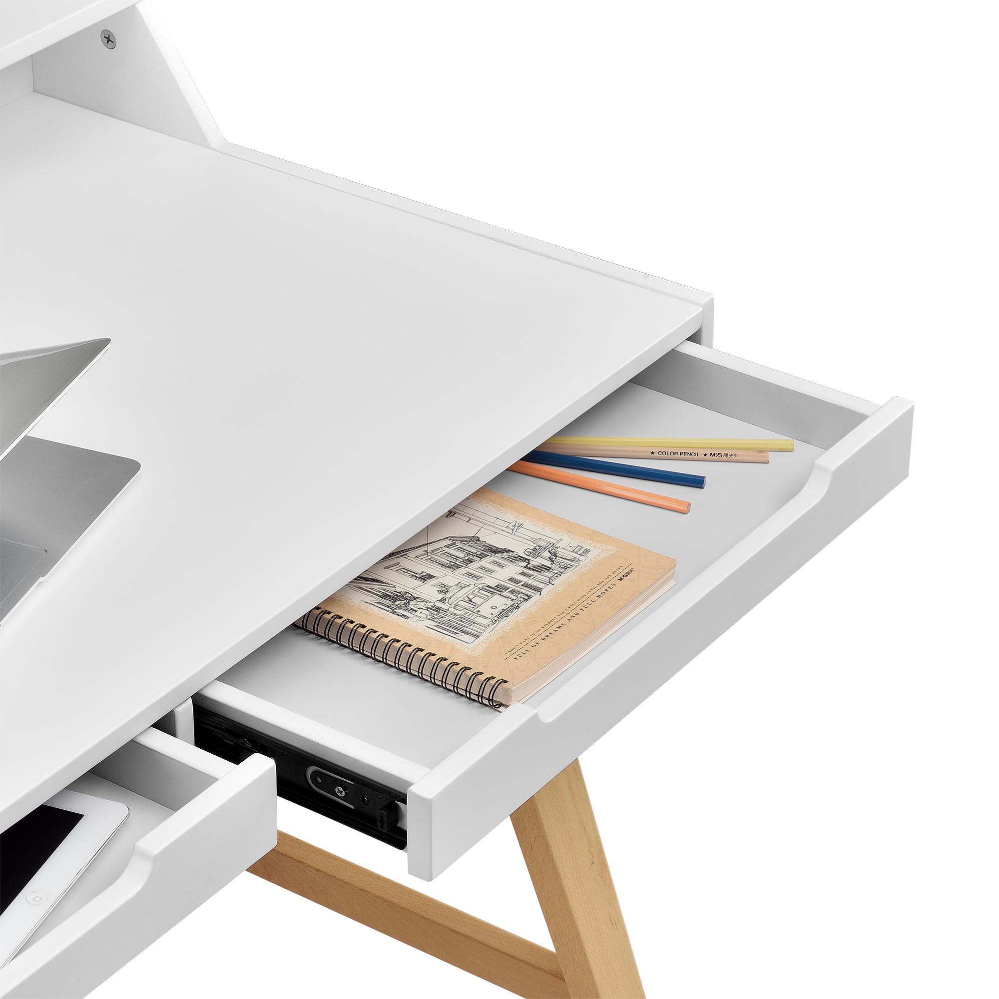 Bureau avec chaise blanc meuble d for Meuble console ordinateur